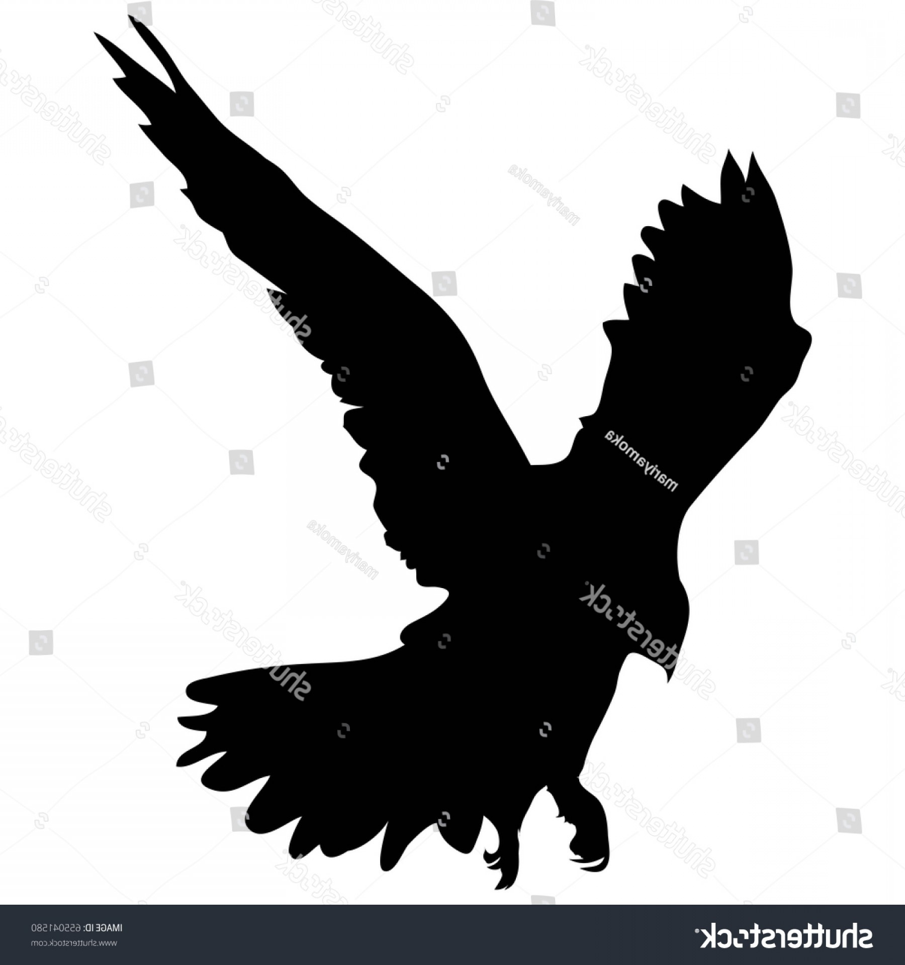 Falcon Silhouette Vector: Black Silhouette Flying Falcon Profile Vector