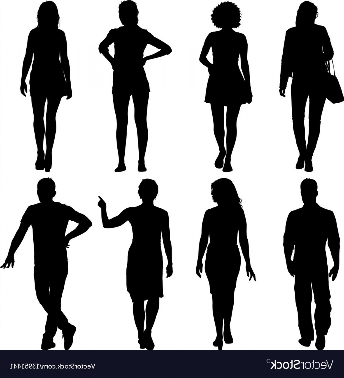 People Standing Vector: Black Silhouette Group Of People Standing In Vector