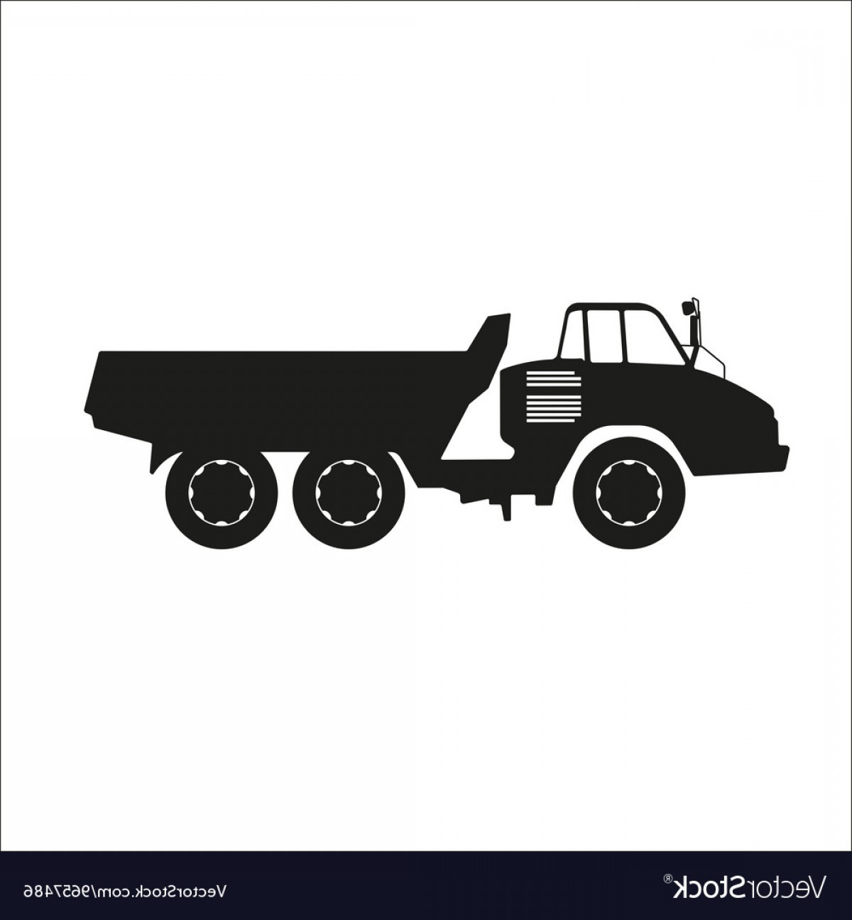 Dump Truck Vector Black And White: Black Silhouette Of A Dump Truck Vector