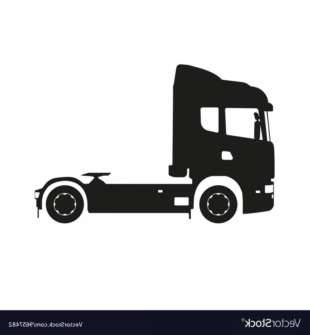 Packages On A Truck Vector: Black Silhouette Of A Tractor Truck Vector