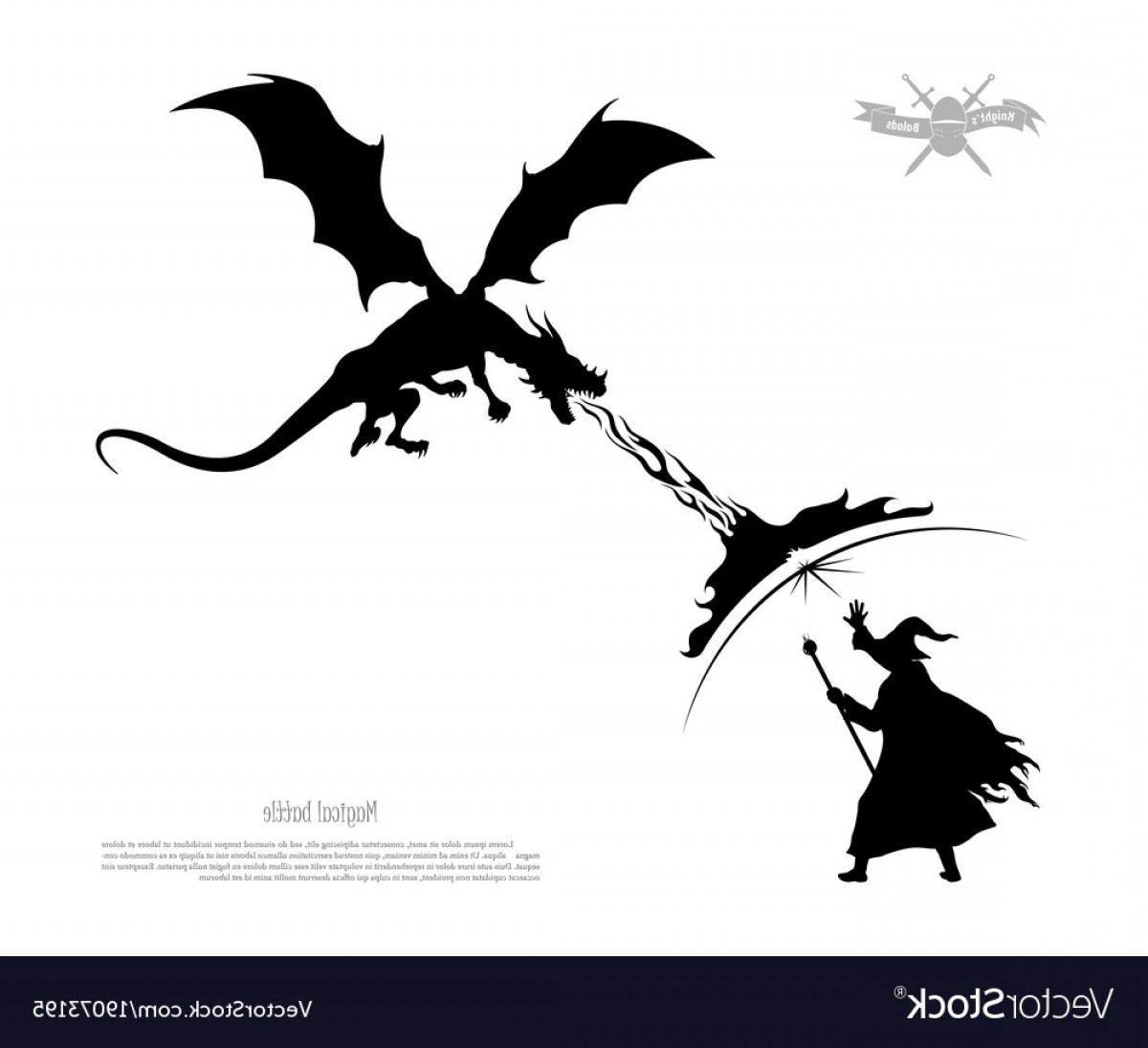 Wizard Silhouette Vector: Black Silhouette Of Battle Of Wizard With Dragon Vector