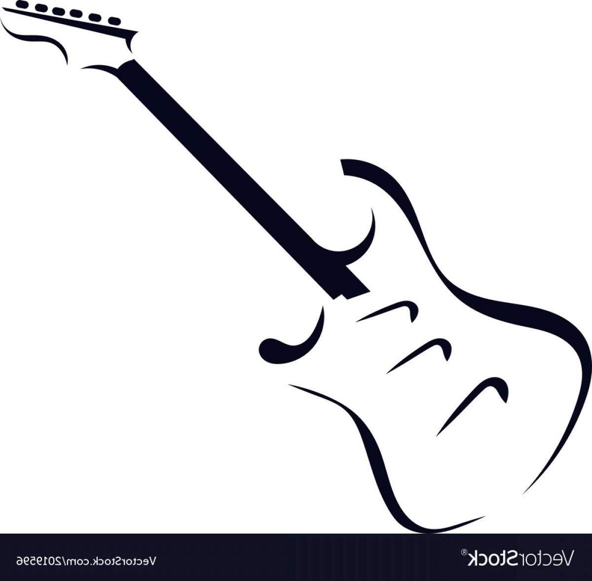 Vector Guitar Clip Art Black And White: Black Silhouette Of Electric Guitar Vector