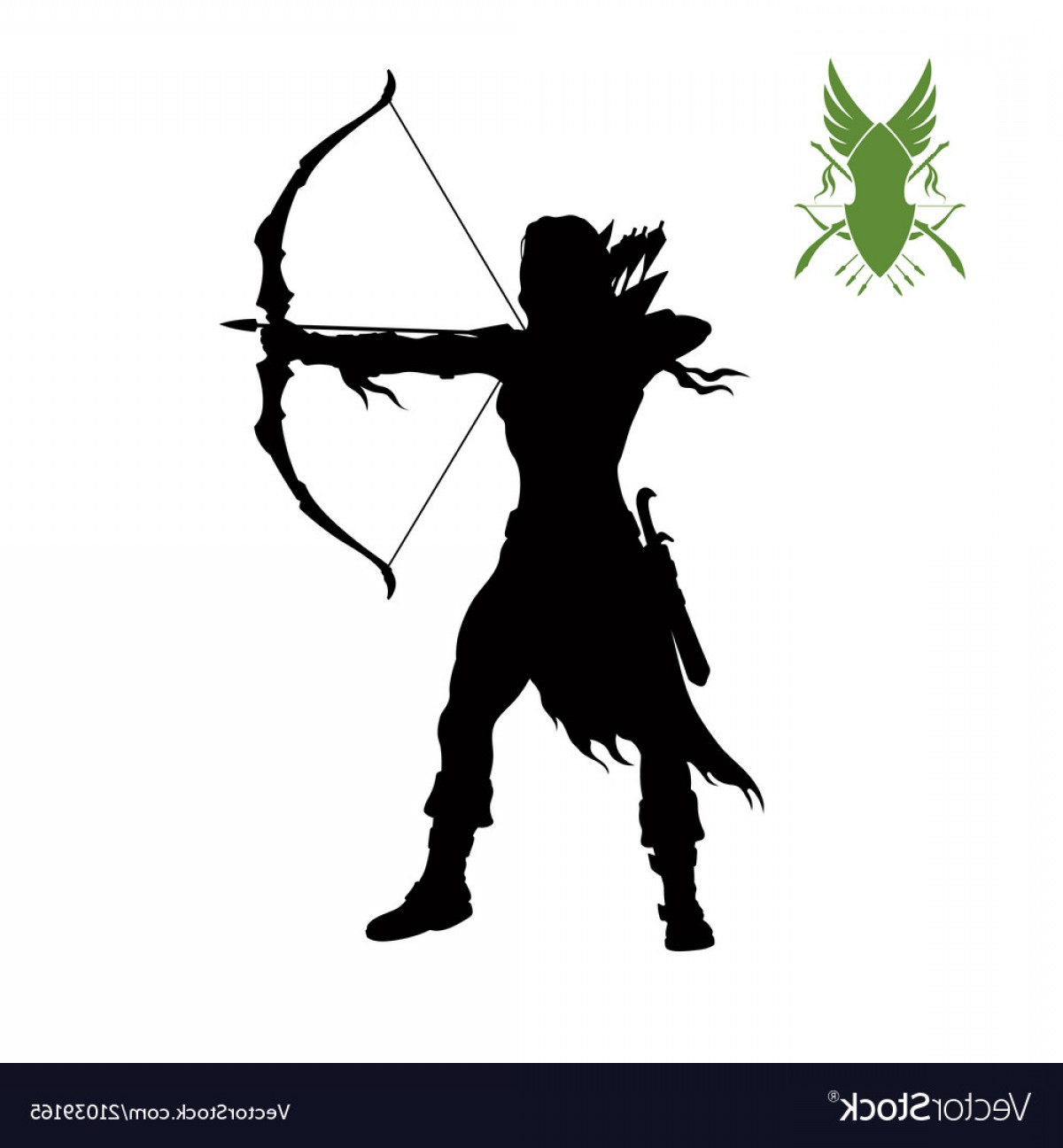 Vector Archery Silhouette: Black Silhouette Of Elven Archer With Bow Vector