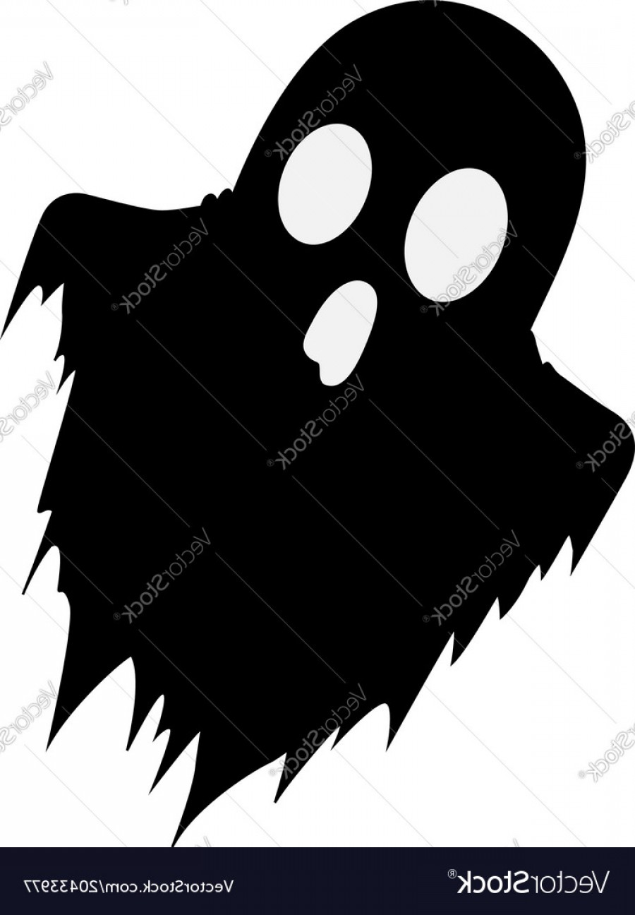 Ghost Vector Black: Black Silhouette Of Scary Ghost Isolated On White Vector