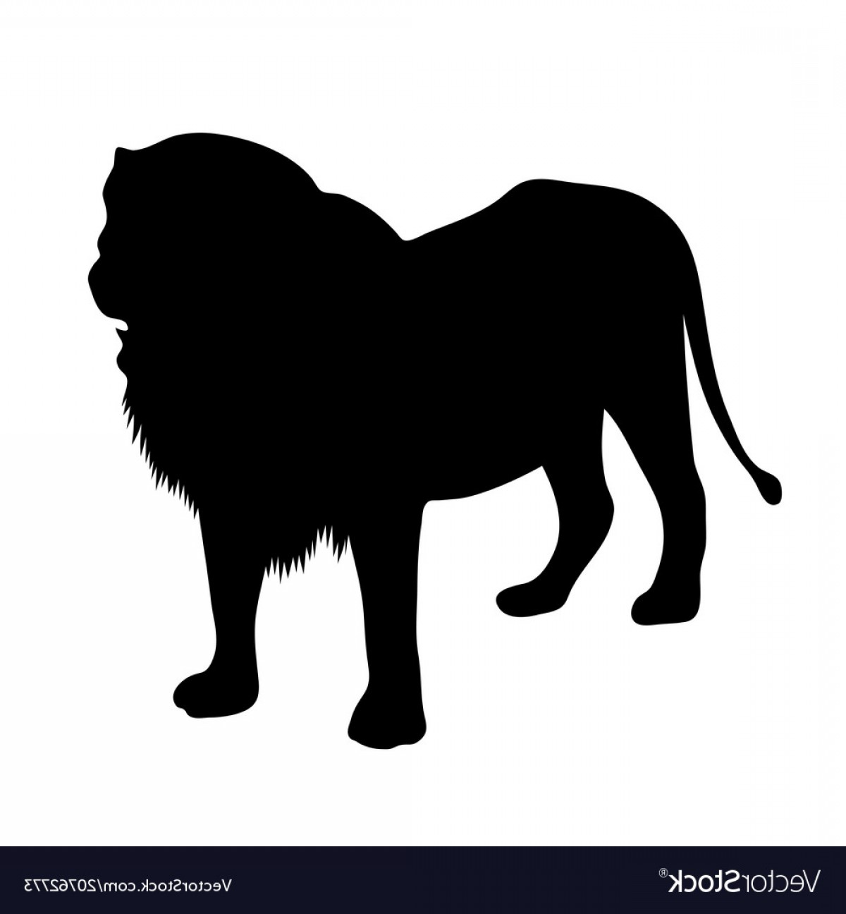 Standing Lions Crest Vector: Black Silhouette Of Standing Lion On White Vector