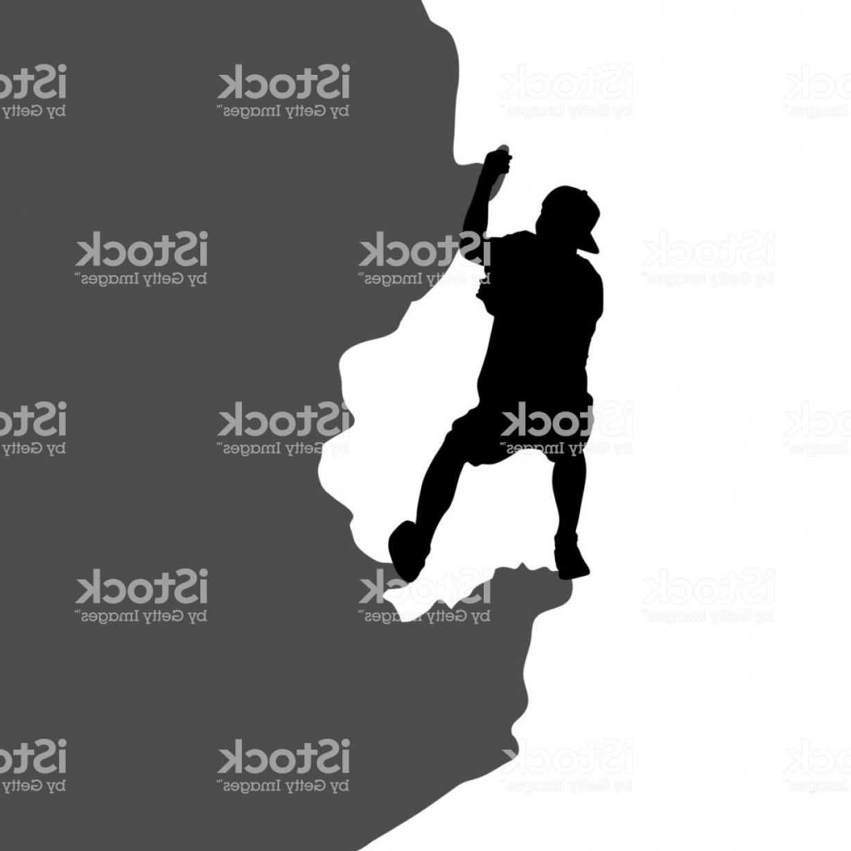 Climbing Silhouette Vector Art: Black Silhouette Rock Climber On White Background Gm