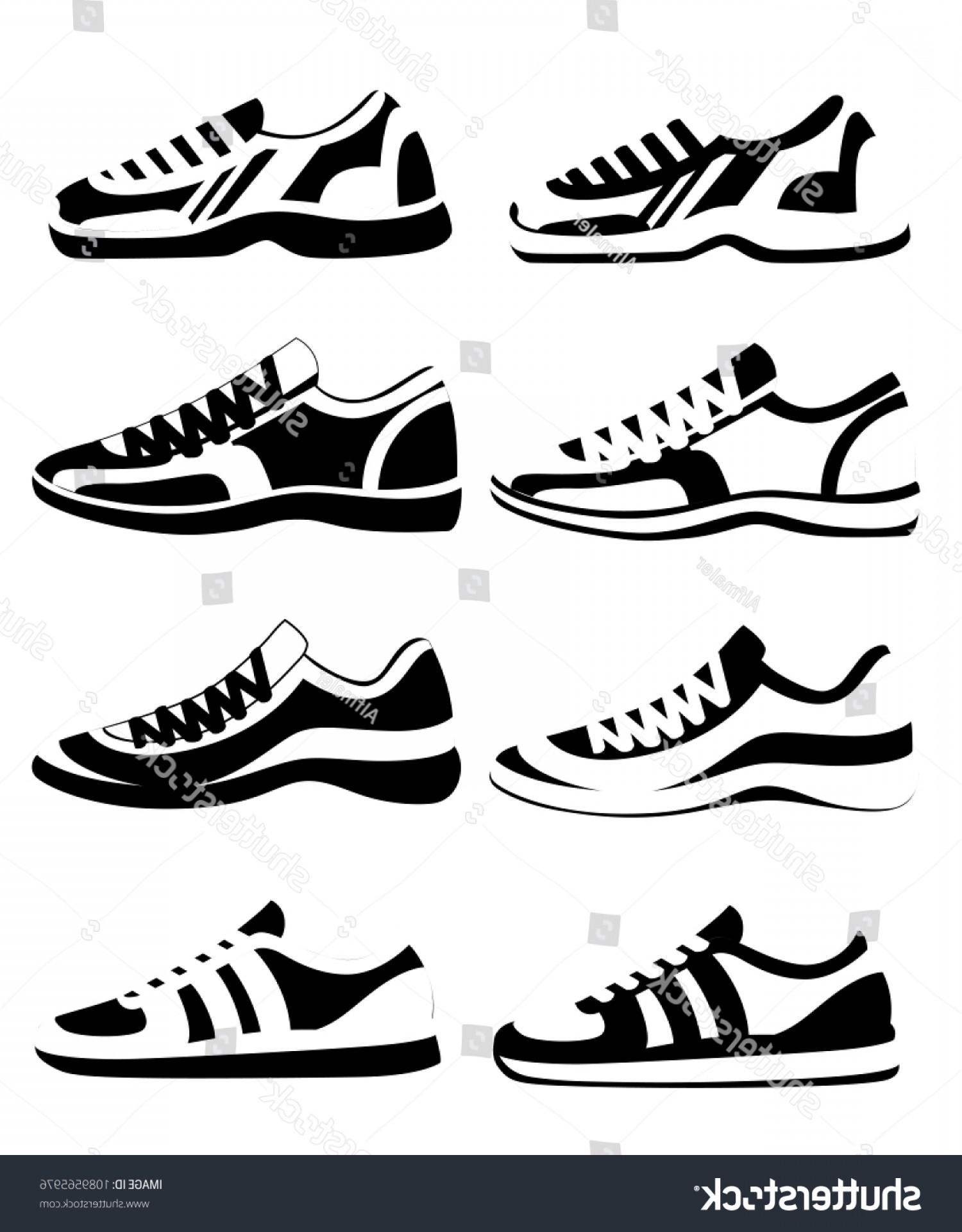 Sneaker Silhouette Vector: Black Silhouette Sneaker Shoe Athletic Sneakers