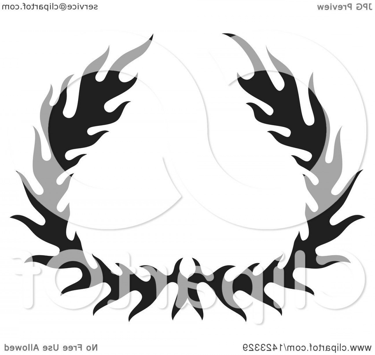 Fire Clip Art Vector: Black Silhouetted Fire Flame Wreath Design Element