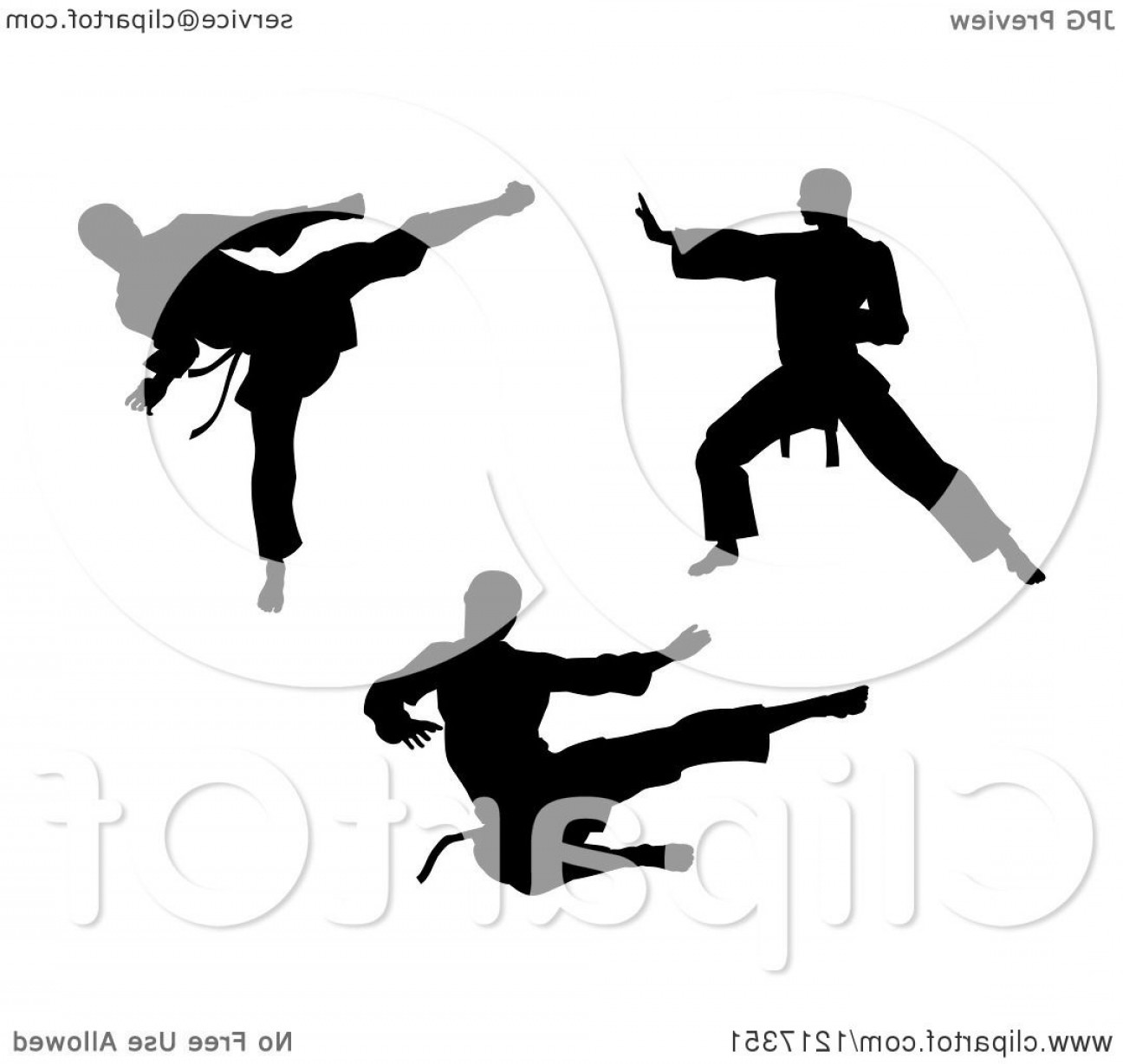 Karate Vector: Black Silhouetted Karate And Martial Arts Men