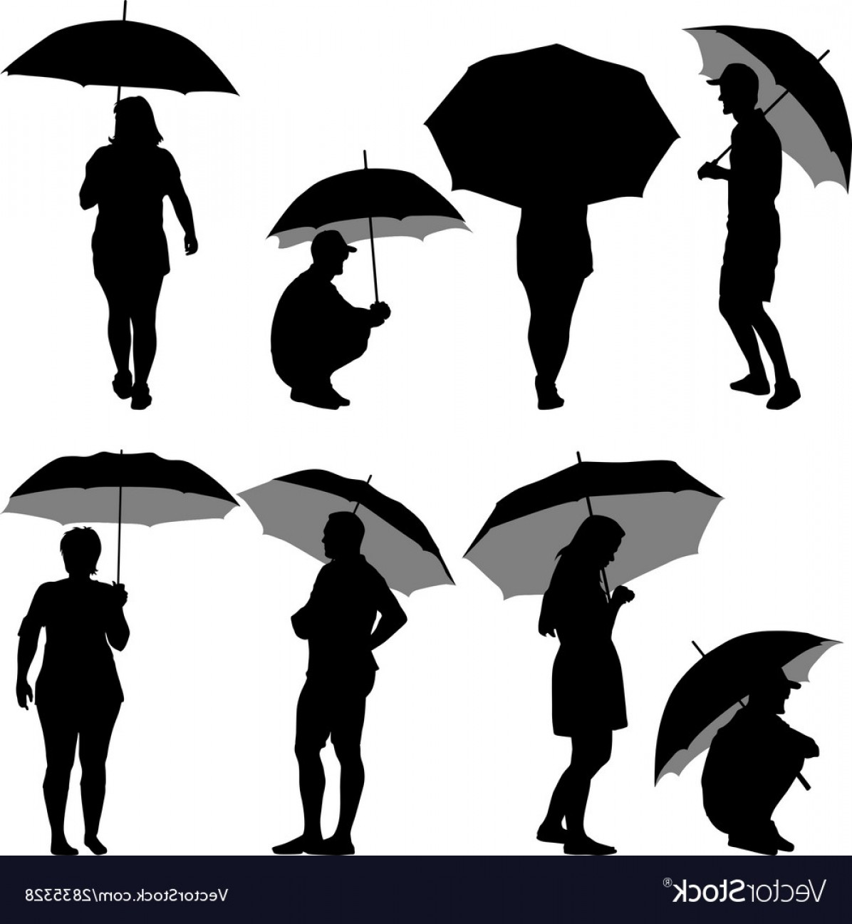 Umbrella Vector Black: Black Silhouettes Man And Woman Under Umbrella Vector