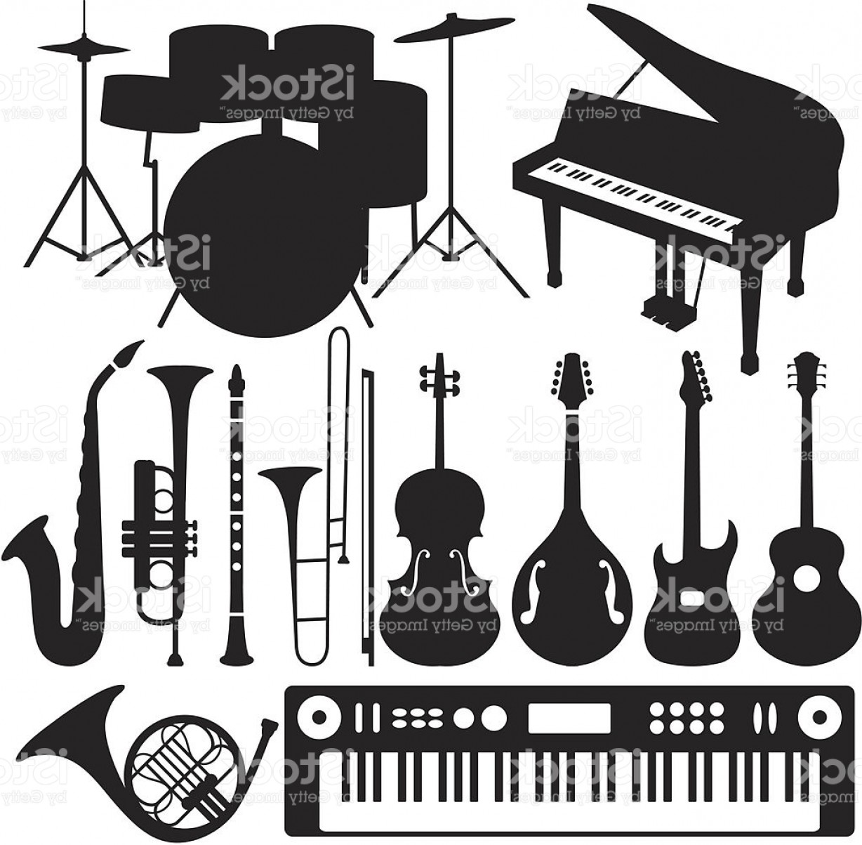 Musical Keyboard Vector: Black Silhouettes Musical Instruments Gm