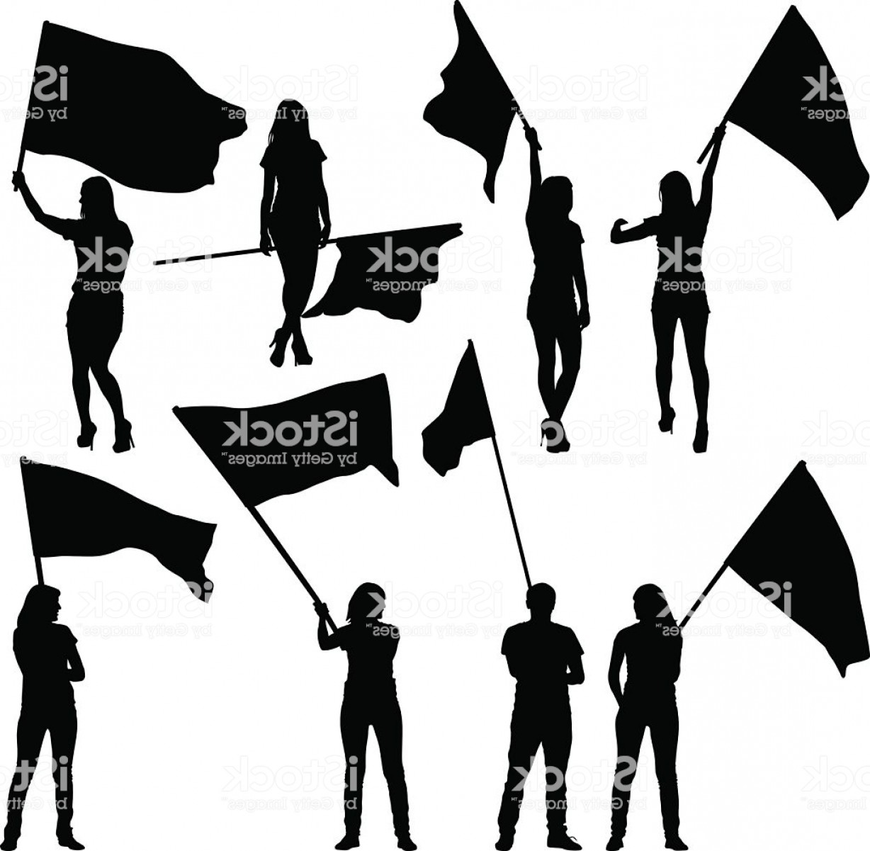 Color Guard Silhouette Vector: Black Silhouettes Of Mans And Womans With Flags Gm
