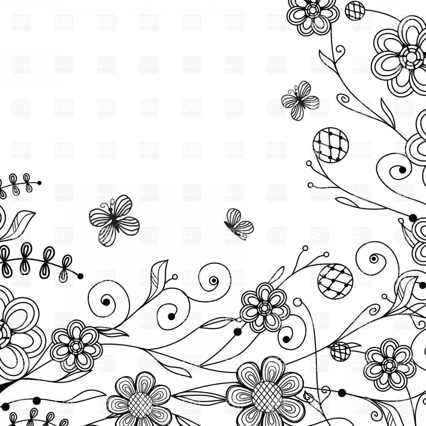 Butter Fly And Flower Vector Black And White: Black Sketch Flowers And Butterflies Vector Clipart