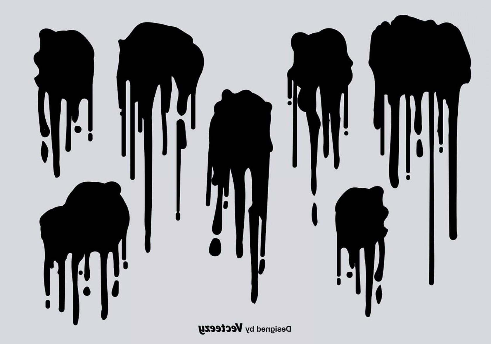 Dripping Paint Vector Illustration: Black Spray Paint Drips Vectors