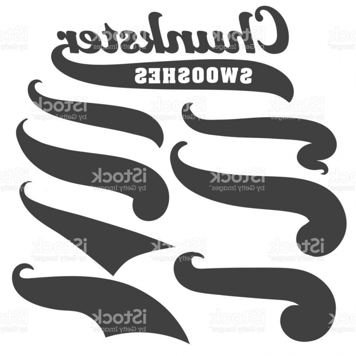 Baseball Tails Vector Clip Arts: Black Squiggle Swoosh Text Font Tail For Baseball Tshirt Design Gm