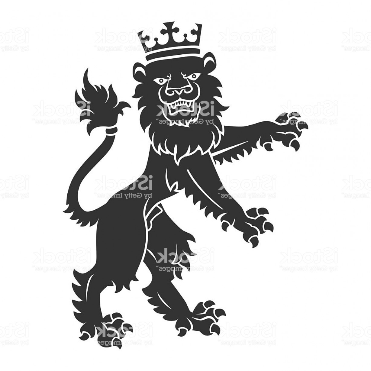 Standing Lions Crest Vector: Black Standing Lion With Crown Gm