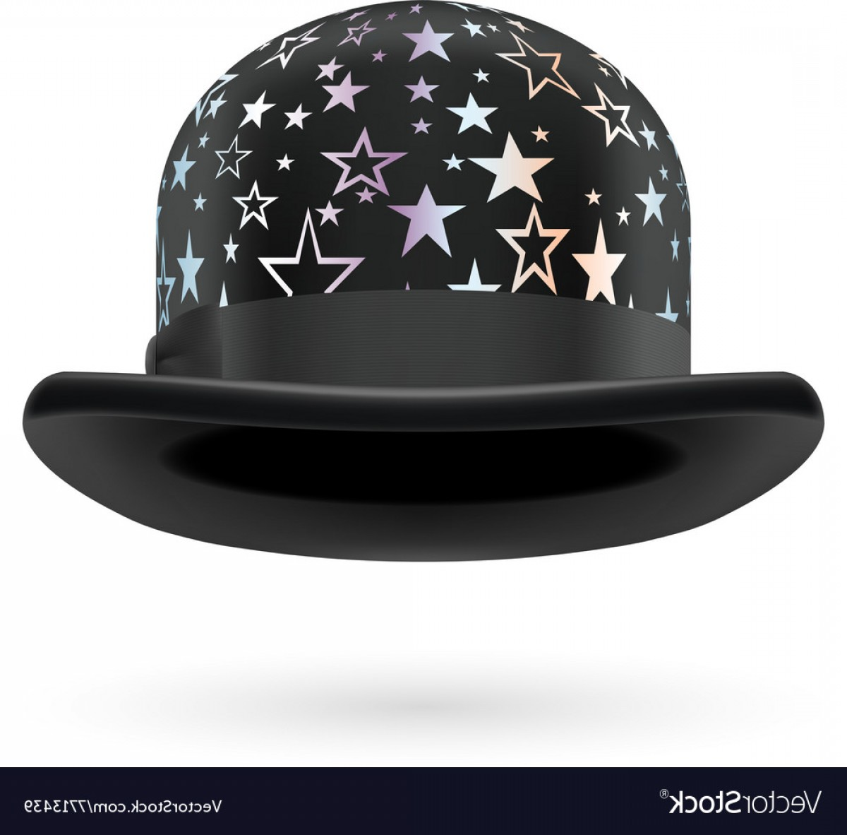 Bowler Hat Vector: Black Starred Bowler Hat Vector