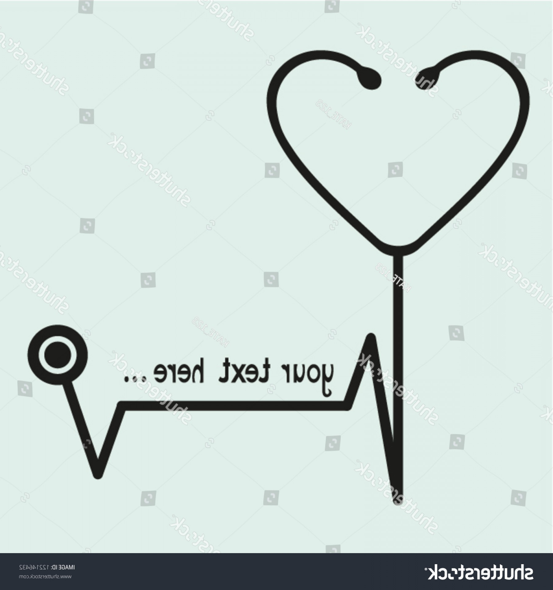 Stethoscope With Heart Vector Art: Black Stethoscope On Blue Backgroundvector Eps