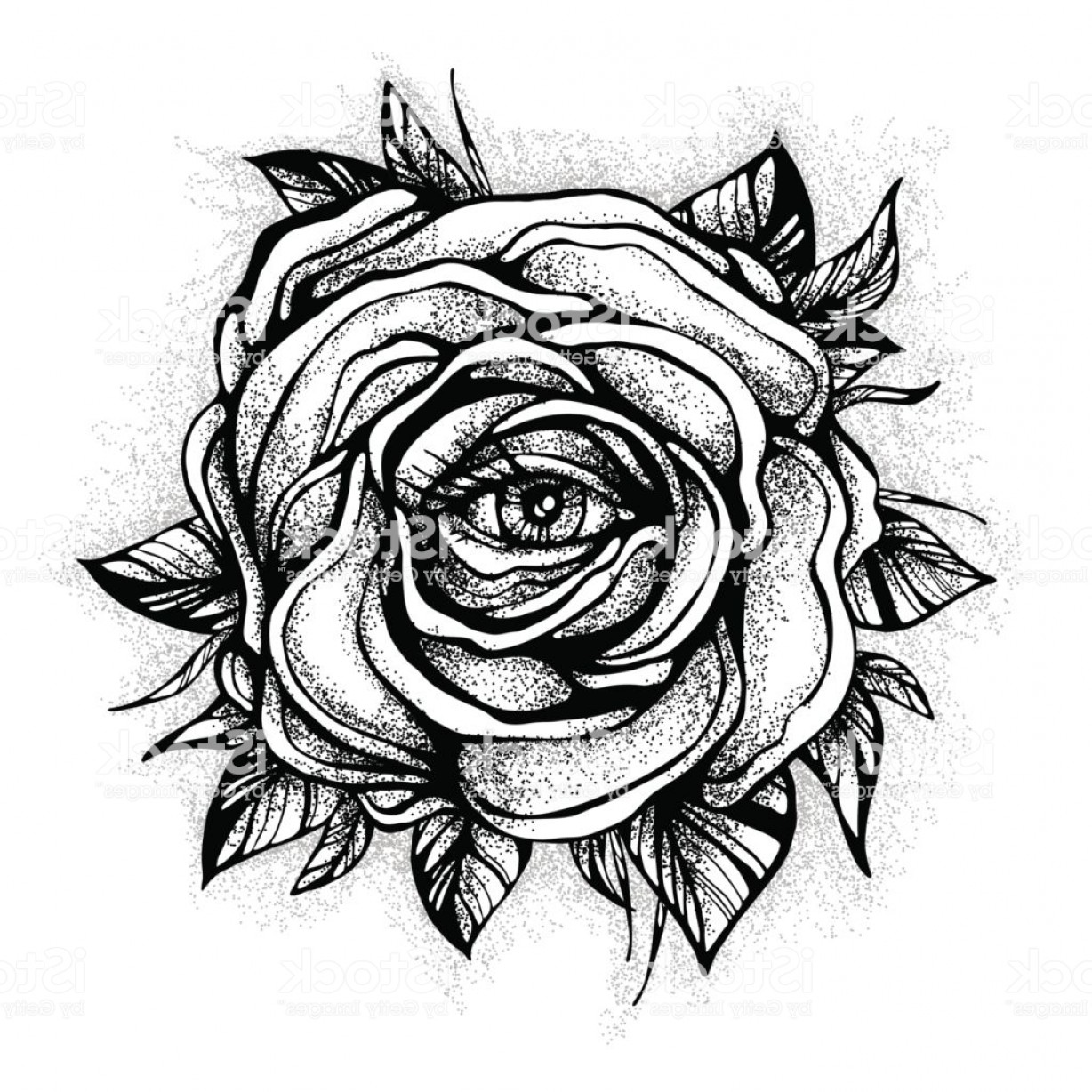 Eye Tatoo Vector: Black Tattoo Rose Flower With The Eye On White Background Tattoo Design Mystic Symbol Gm