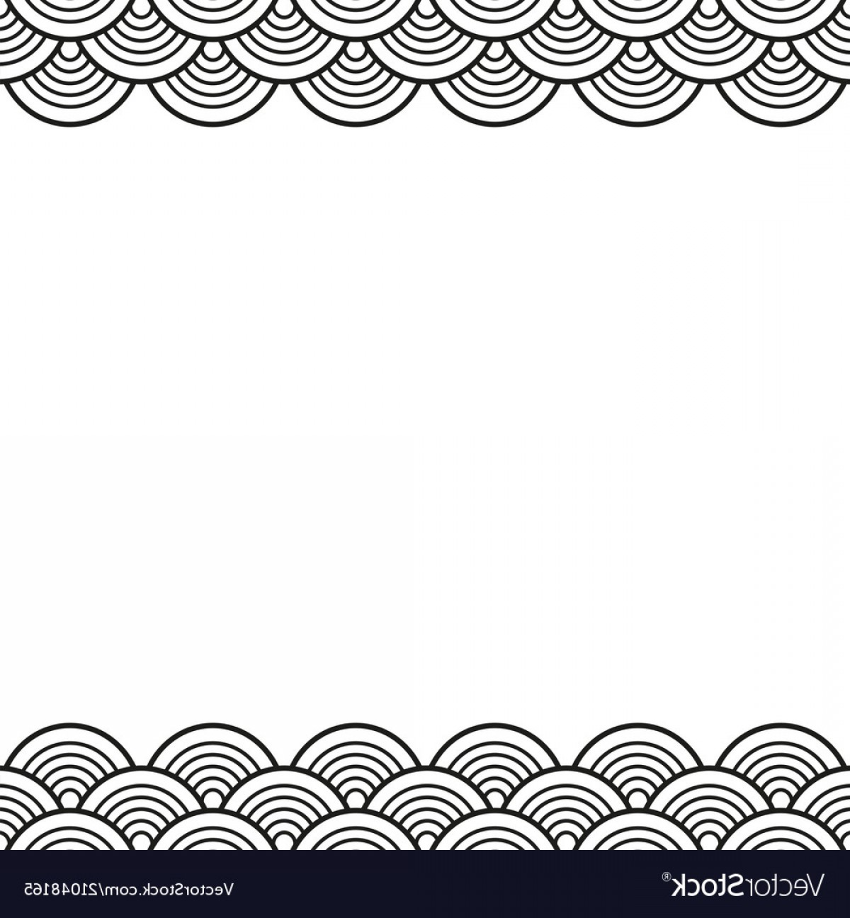 Black Scalloped Border Vector: Black Traditional Wave Japanese Chinese Border Vector