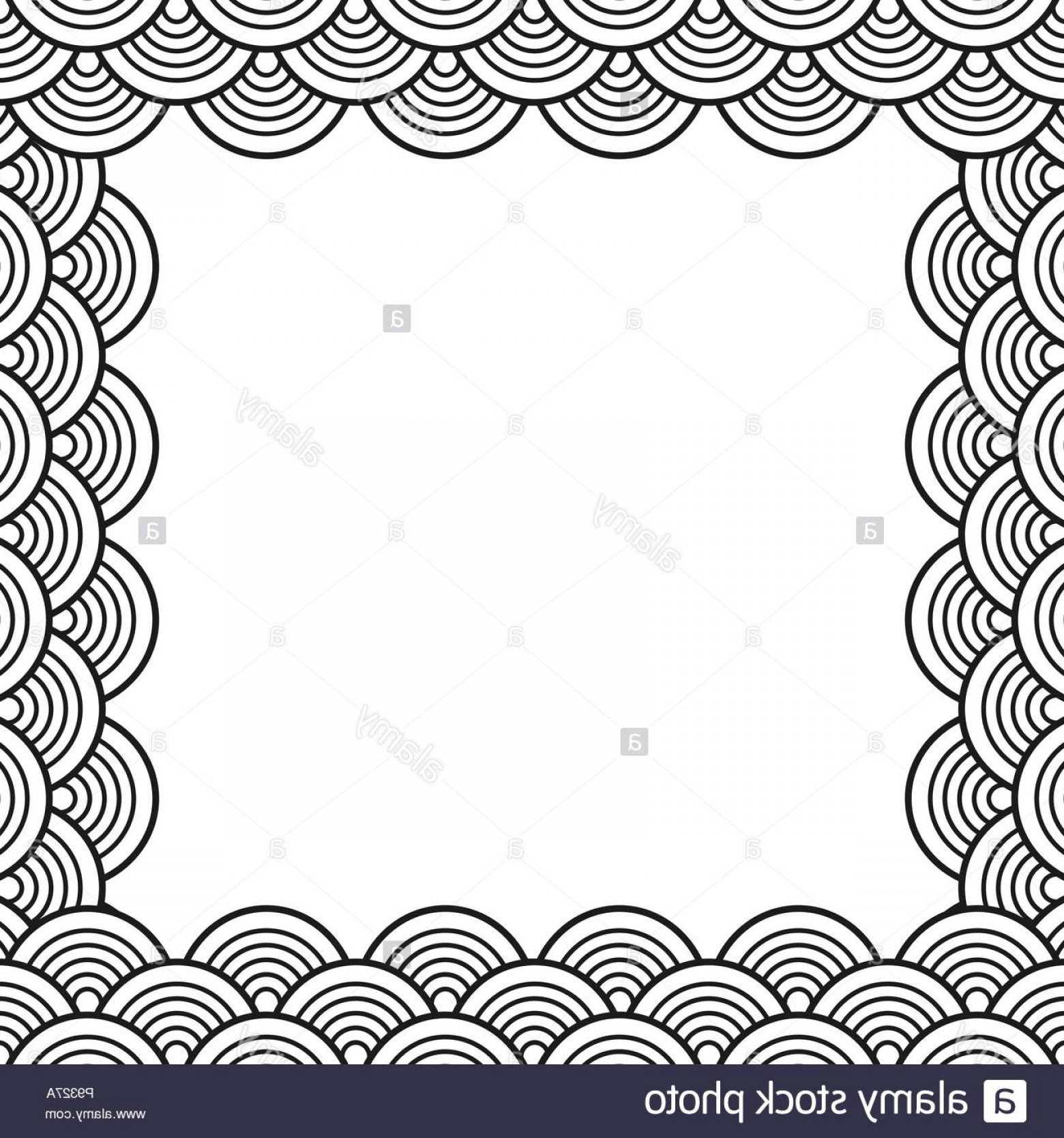 Black Scalloped Border Vector: Black Traditional Wave Japanese Chinese Seigaiha Border Vector Illustration Image
