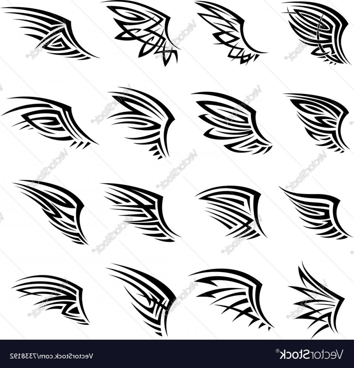 Vector Black Tribal: Black Tribal Isolated Wings Icons Or Tattoos Vector