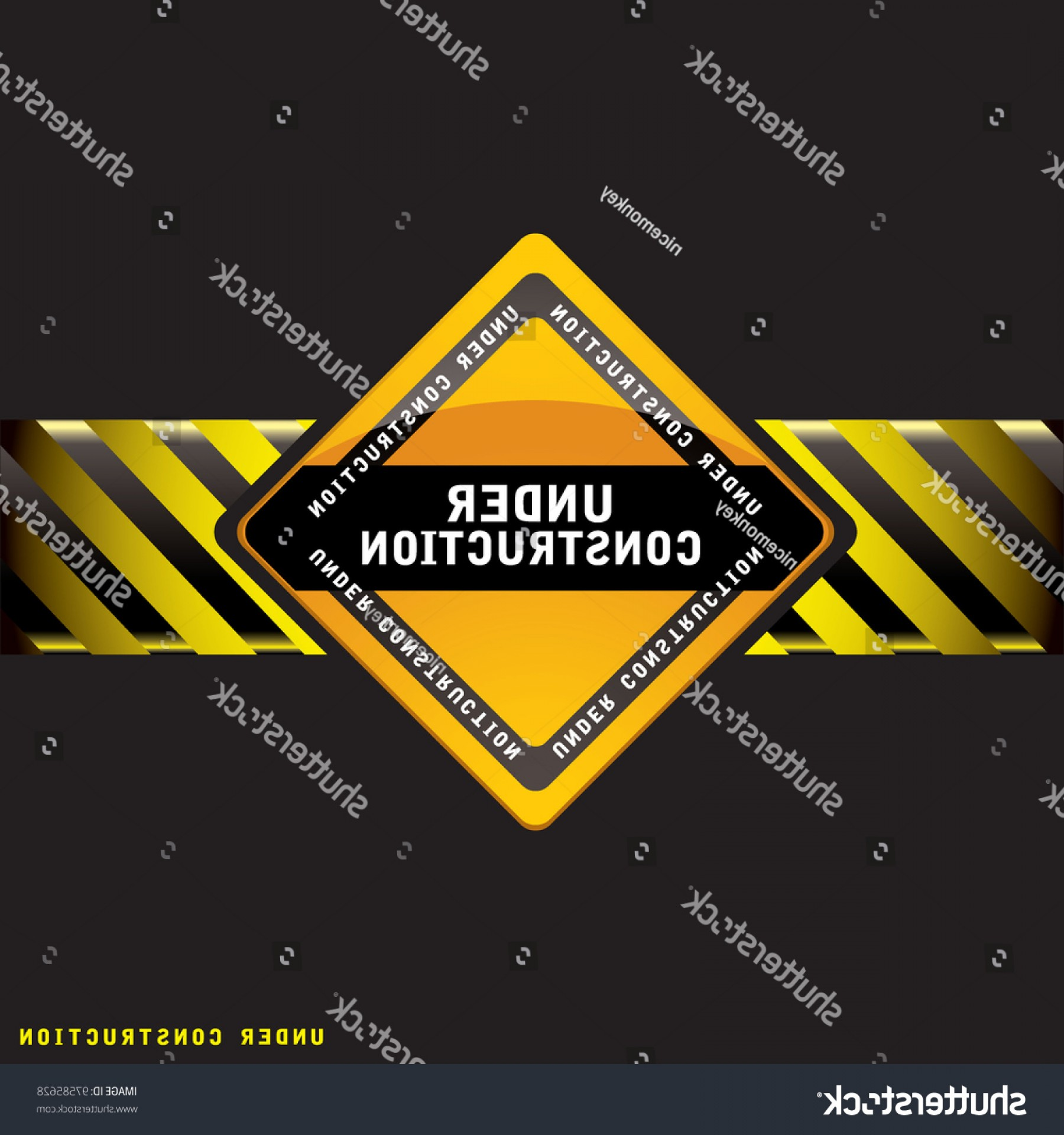 Vector Under Construction Template: Black Under Construction Background Copy Space
