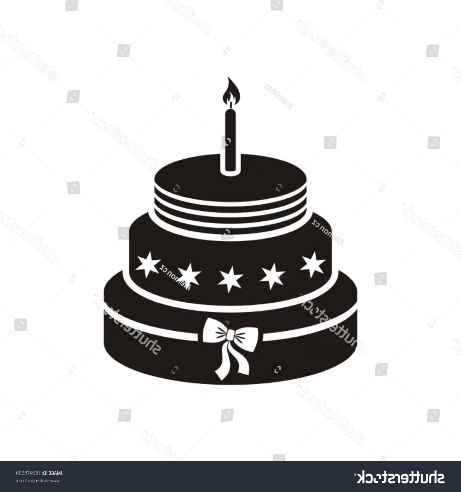 Candle Vector Black: Black Vector Birthday Cake One Candle