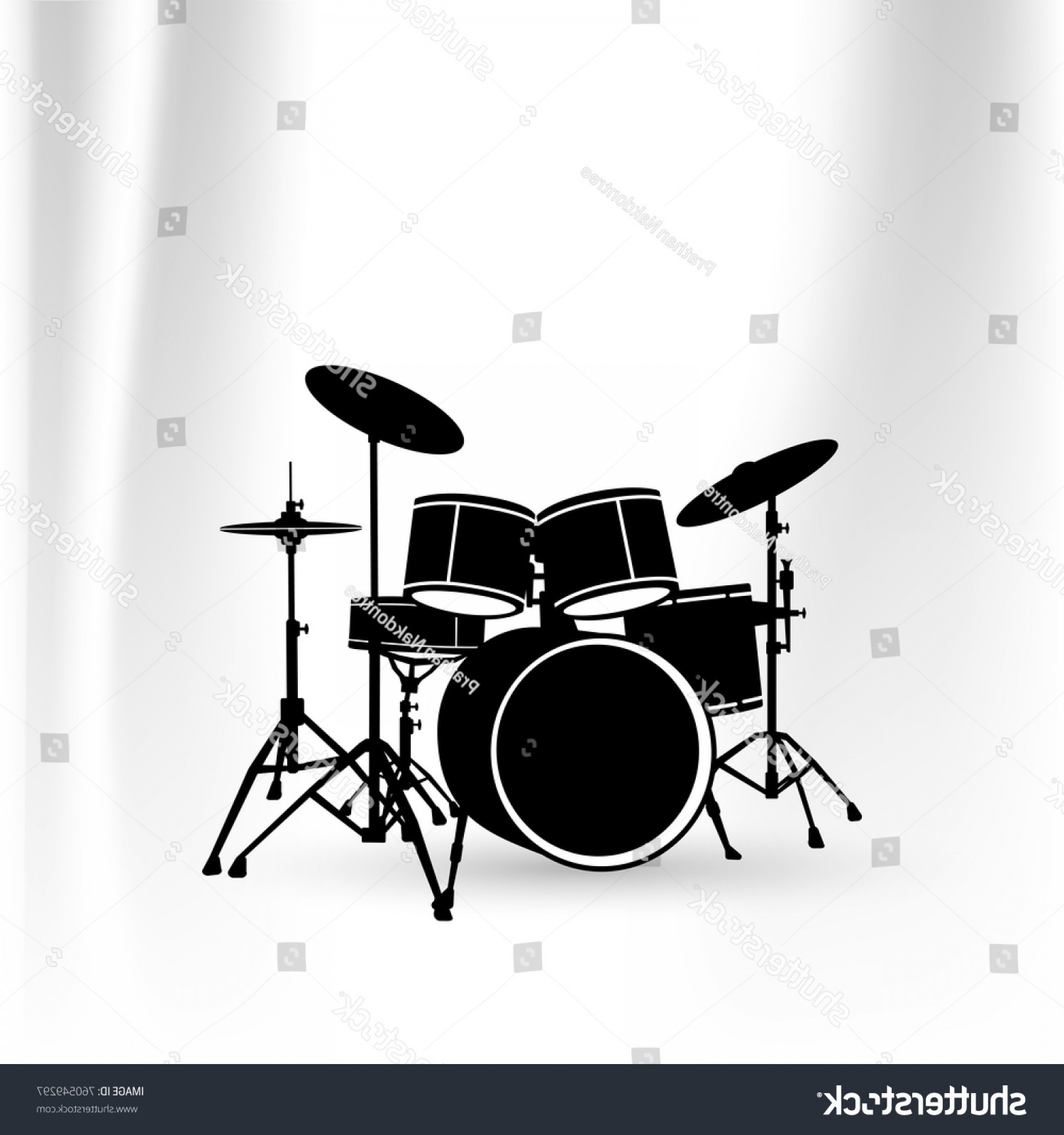 Vector Bass Drum Pedal: Black Vector Drum Kit Illustration Isolated
