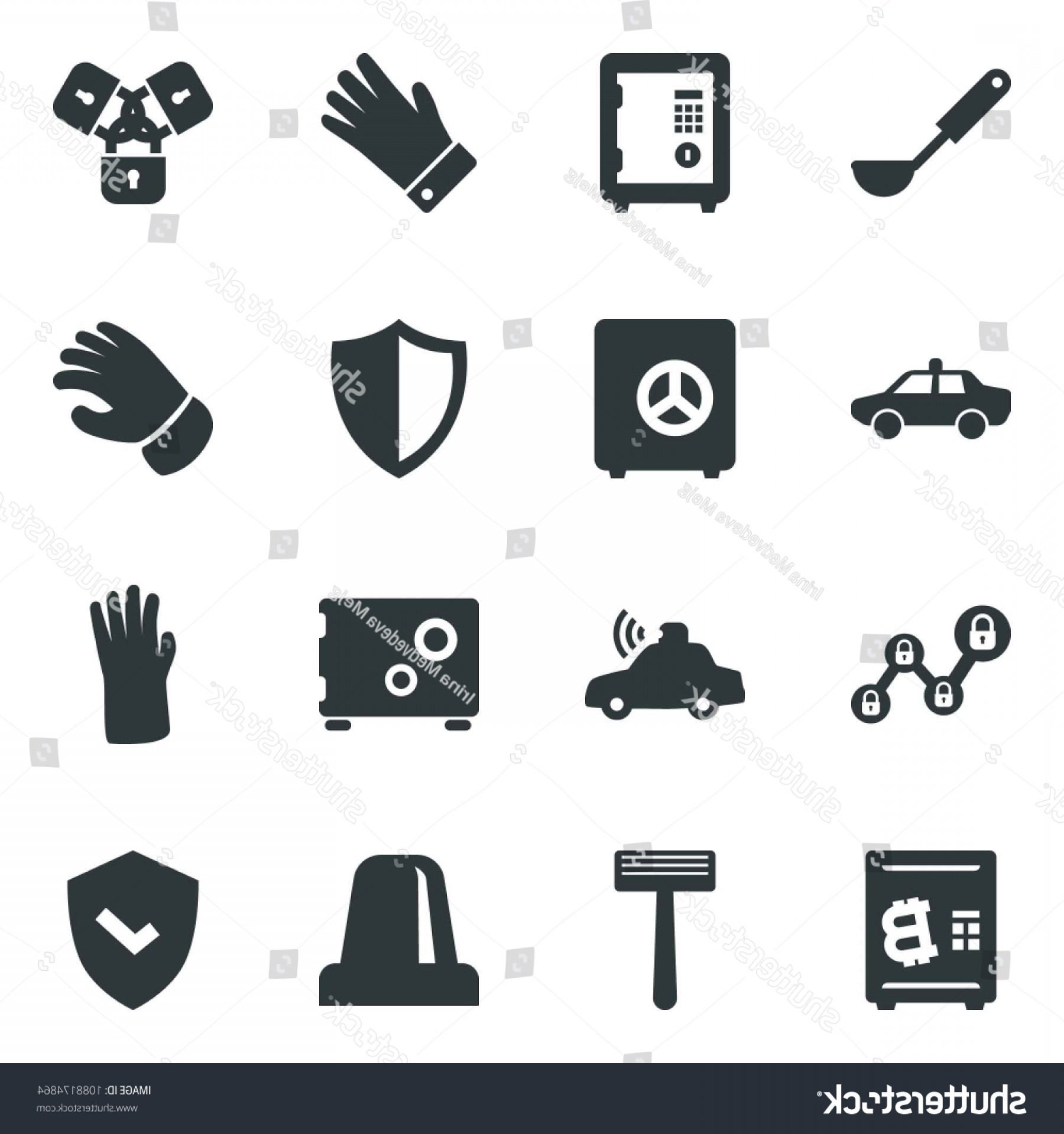 Chain And Lock Glove Vector: Black Vector Icon Set Alarm Car