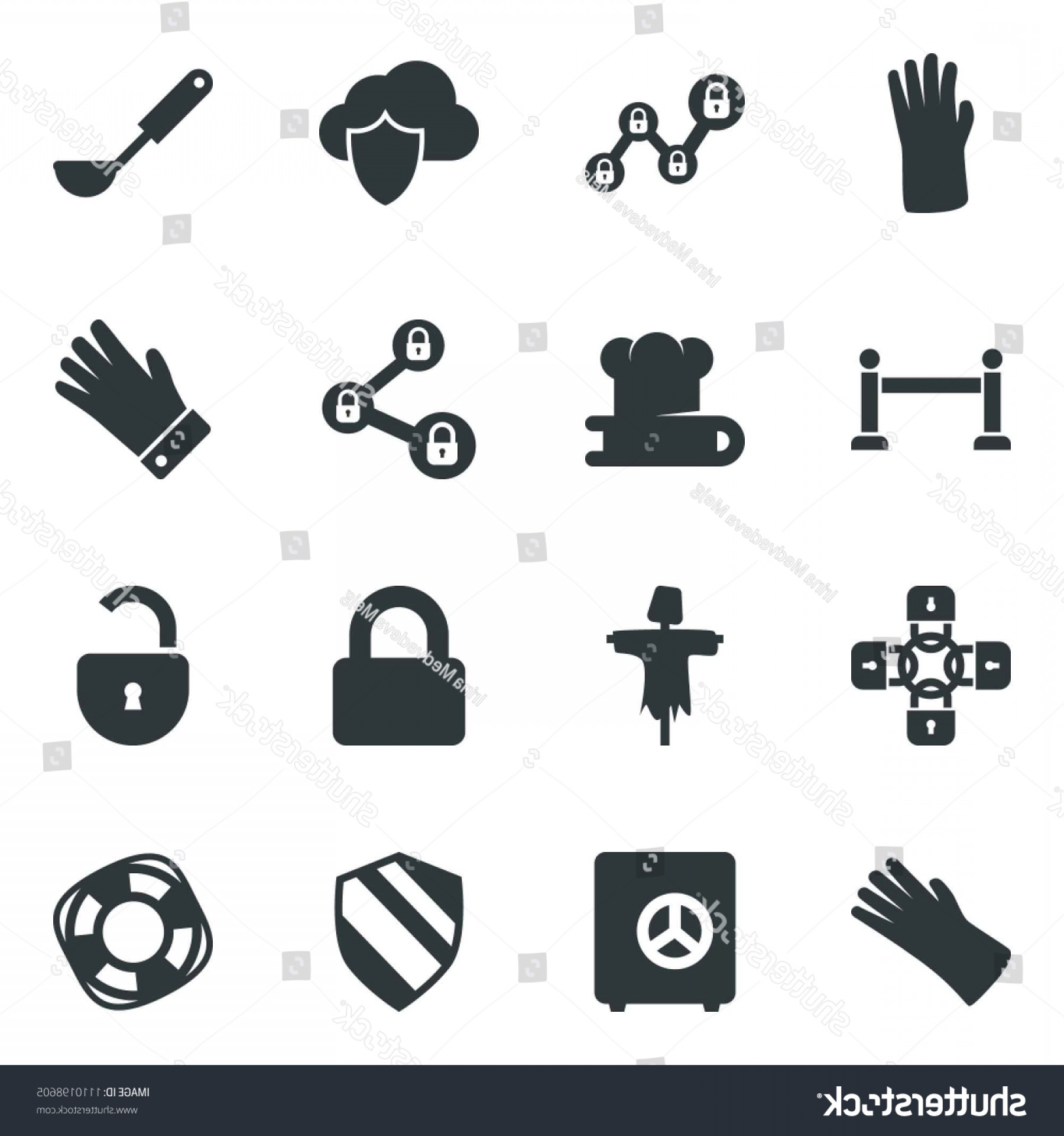 Chain And Lock Glove Vector: Black Vector Icon Set Scarecrow Fence