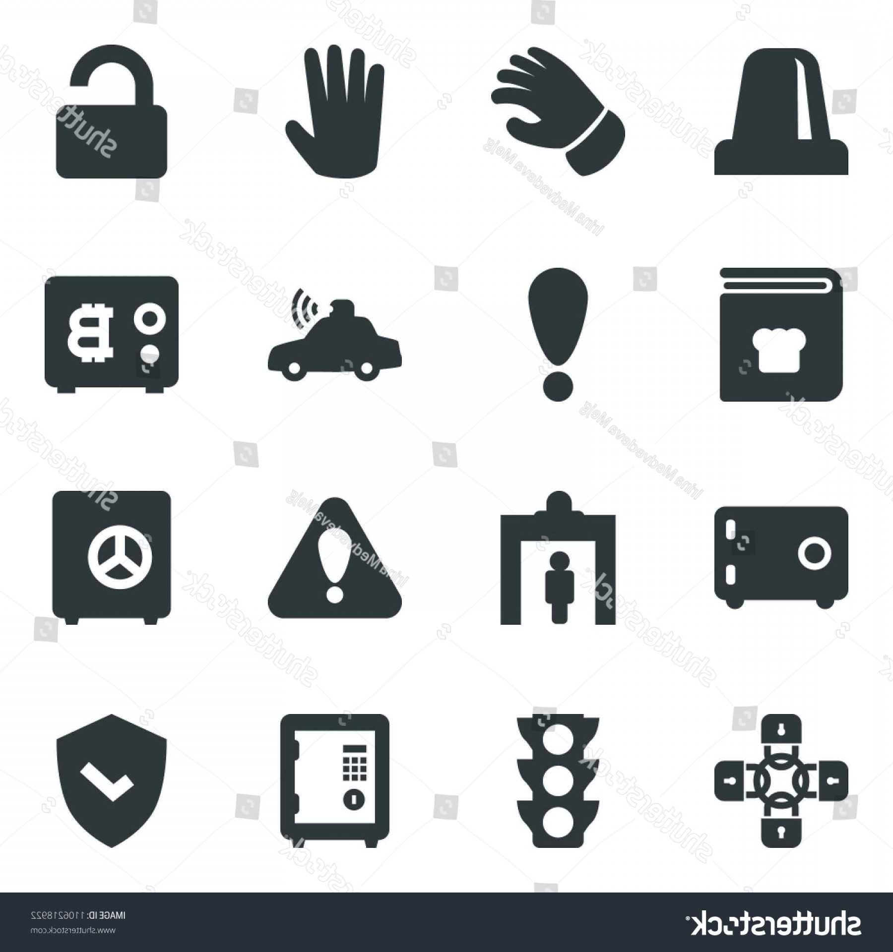 Chain And Lock Glove Vector: Black Vector Icon Set Security Gate