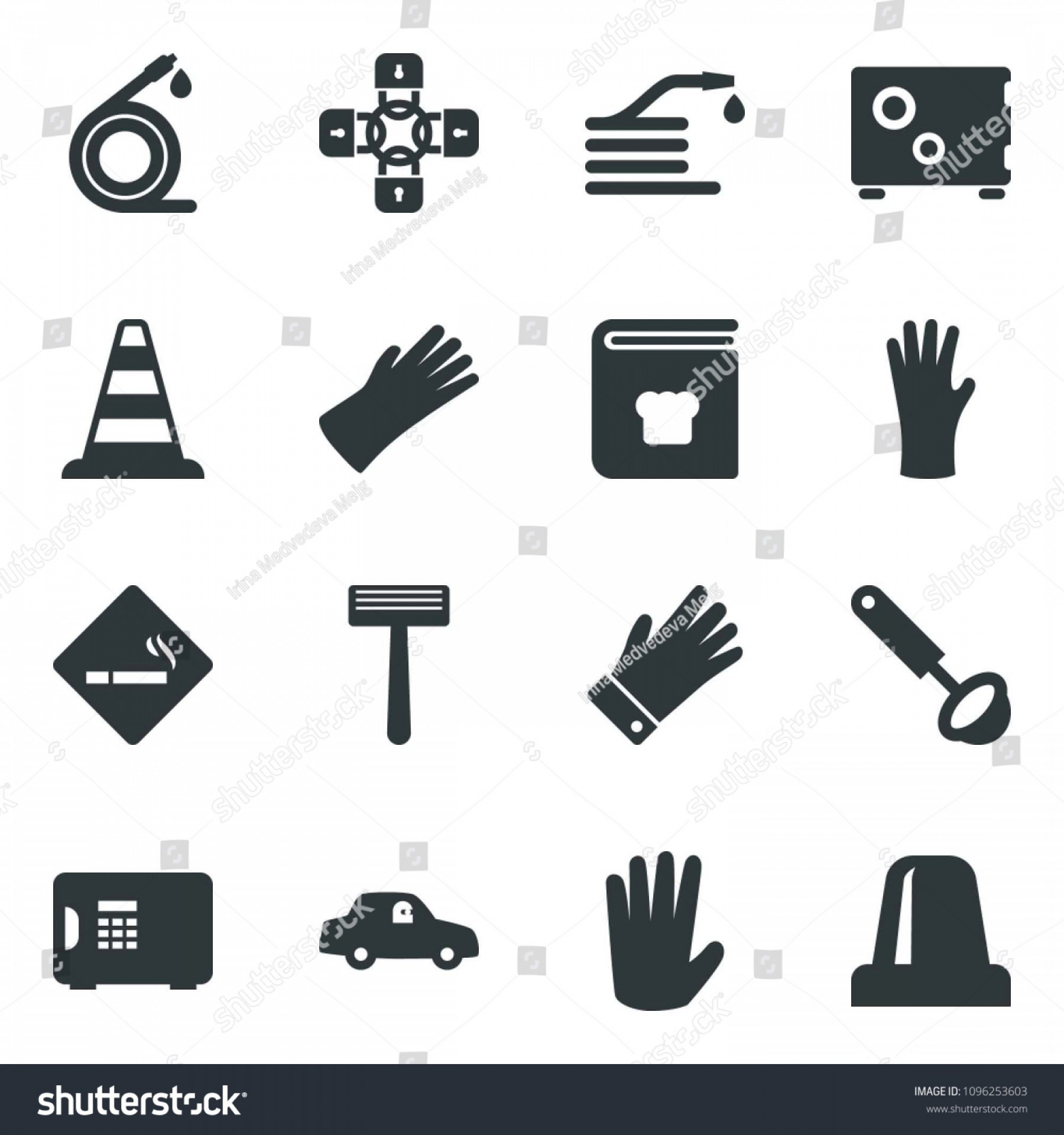 Chain And Lock Glove Vector: Black Vector Icon Set Smoking Place