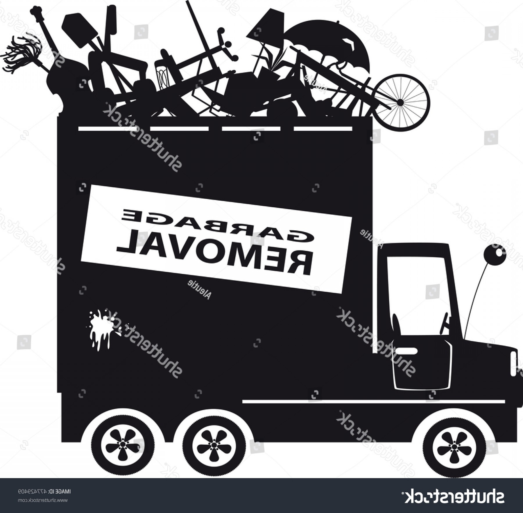 Dump Truck Vector Black And White: Black Vector Silhouette Waste Collection Truck