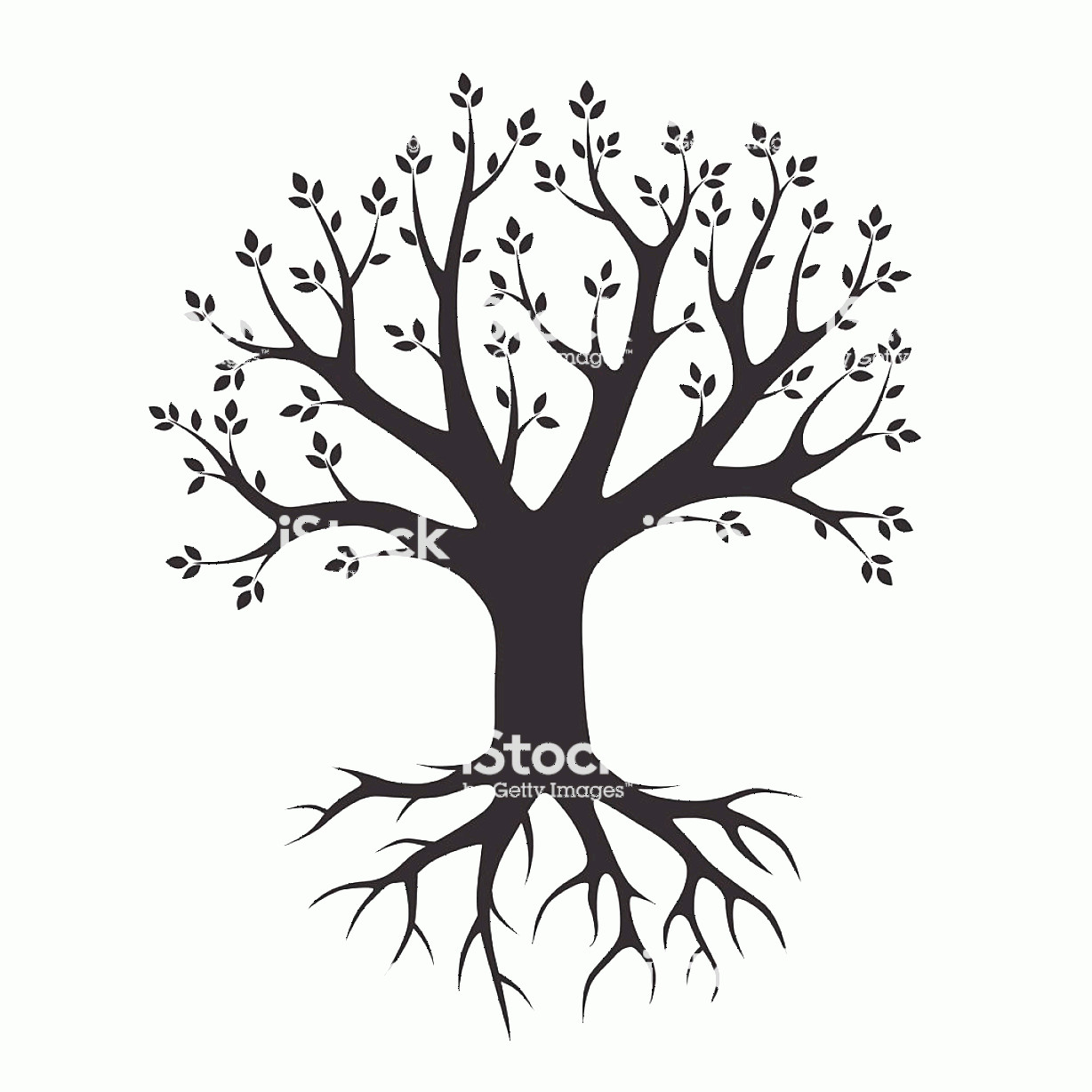 Vector Tree With Roots Drawing: Black Vector Tree And Roots Vector Illustration Park And Nature Gm