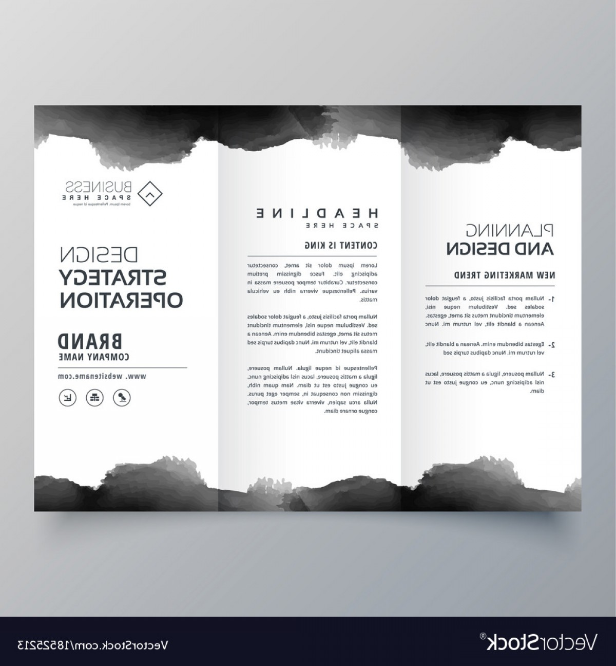 Black And White Flyer Vectors: Black Watercolor Trifold Brochure Design Template Vector