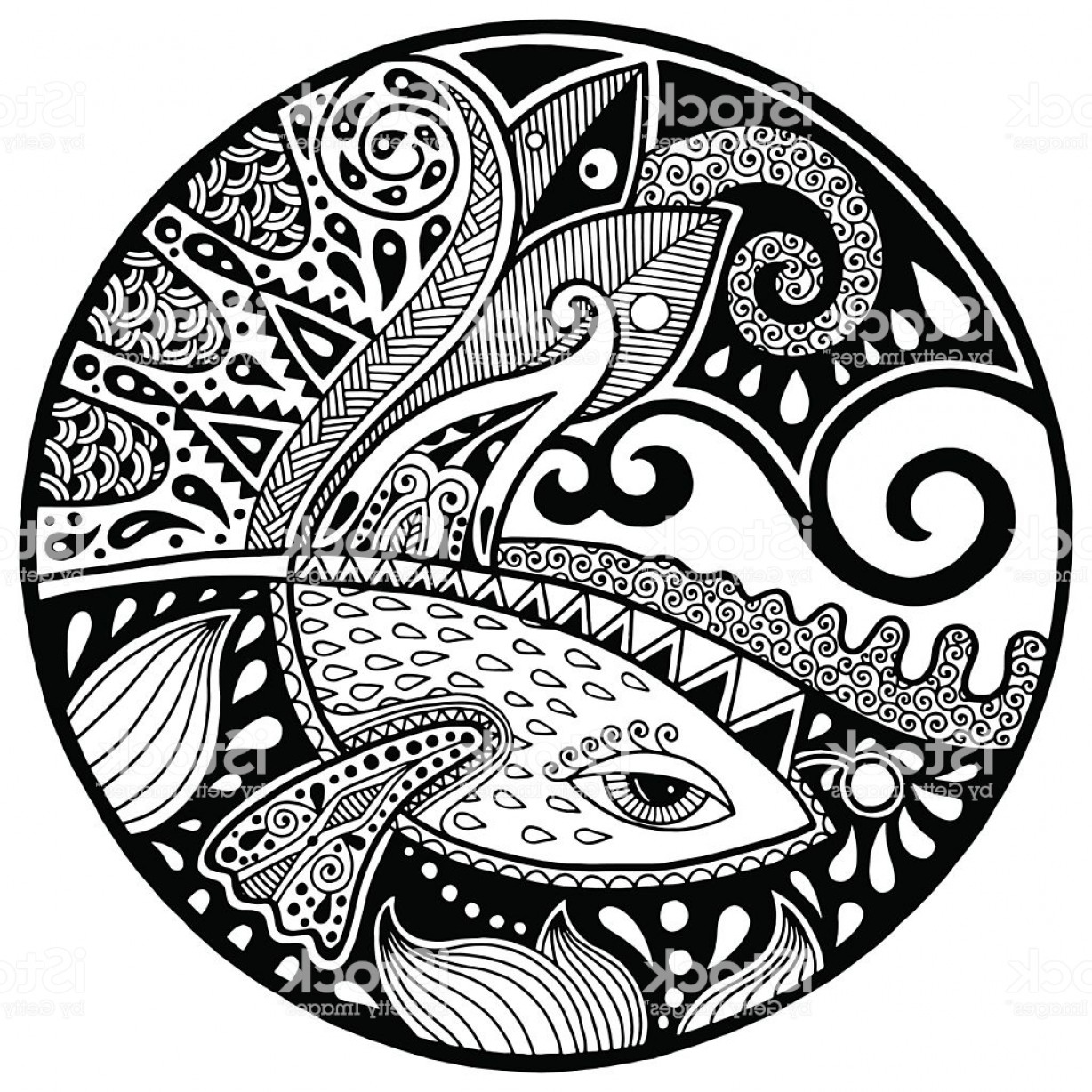 Black And White Circle Vector Graphics: Black White Abstract With Fish And Waves On Circle Gm