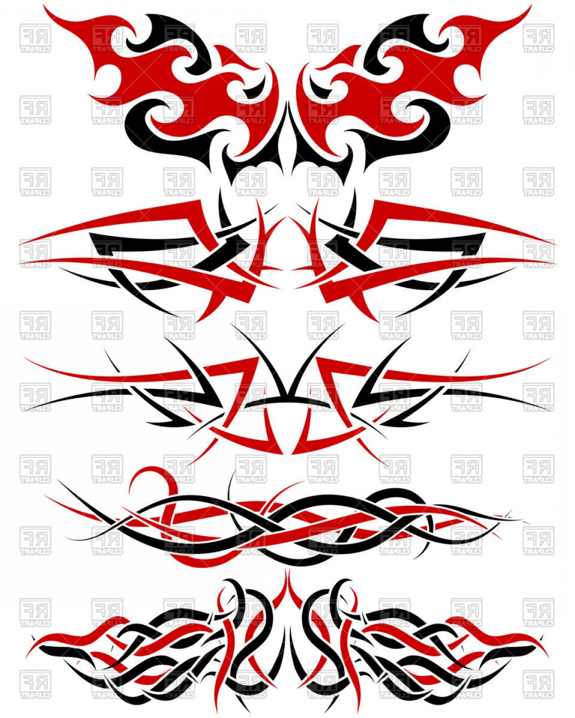 Red Black And White Vector Art: Black White And Red Patterns Of Tribal Tattoo Vector Clipart