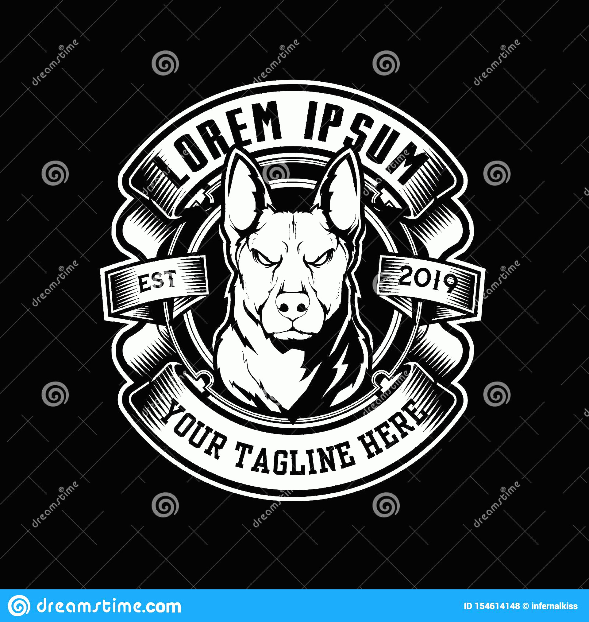 Angry Dog Vector Black And White: Black White Angry Dog Vector Badged Logo Template Wildlife Wolf Cartoon Character Image