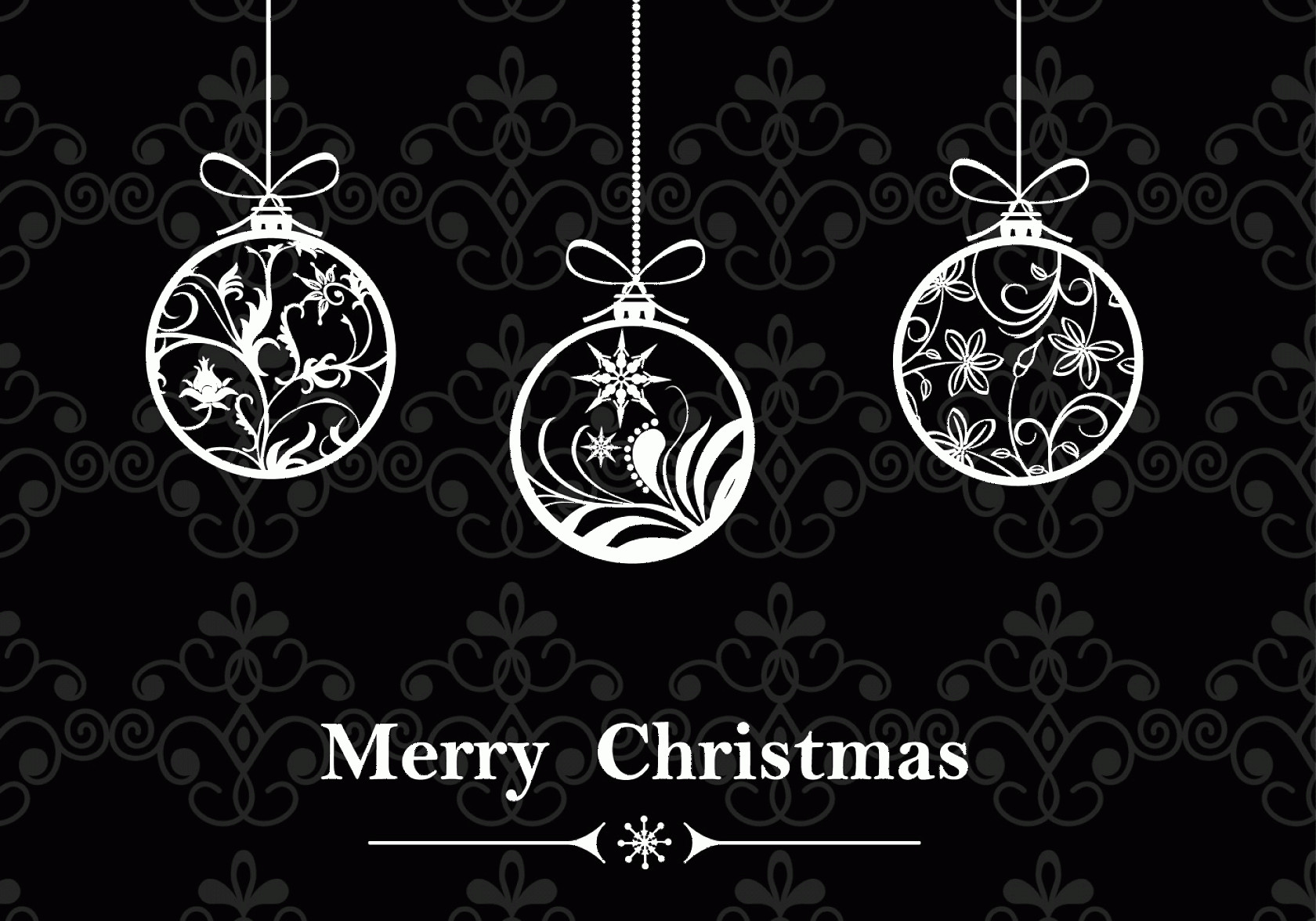 Black And White Christmas Ornament Vector Art: Black White Christmas Ornament Wallpaper Vector