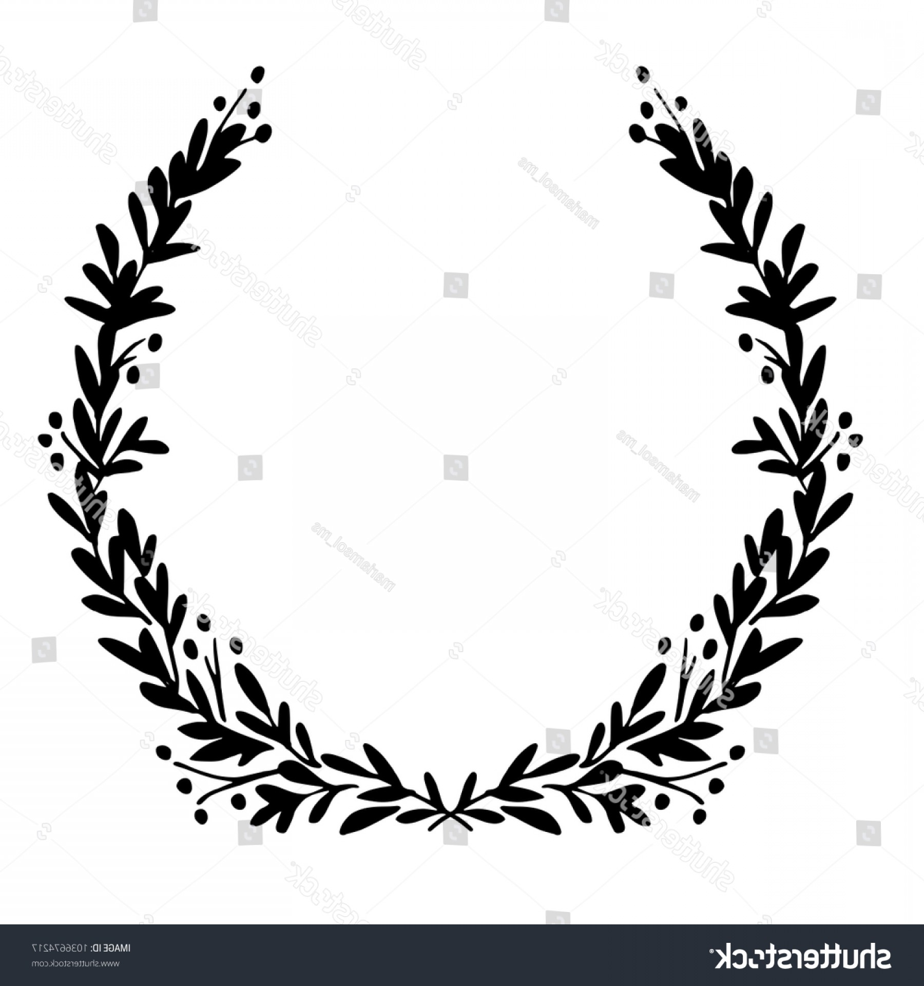 Floral Laurel Wreath Vector: Black White Festive Wreath Hand Drawn