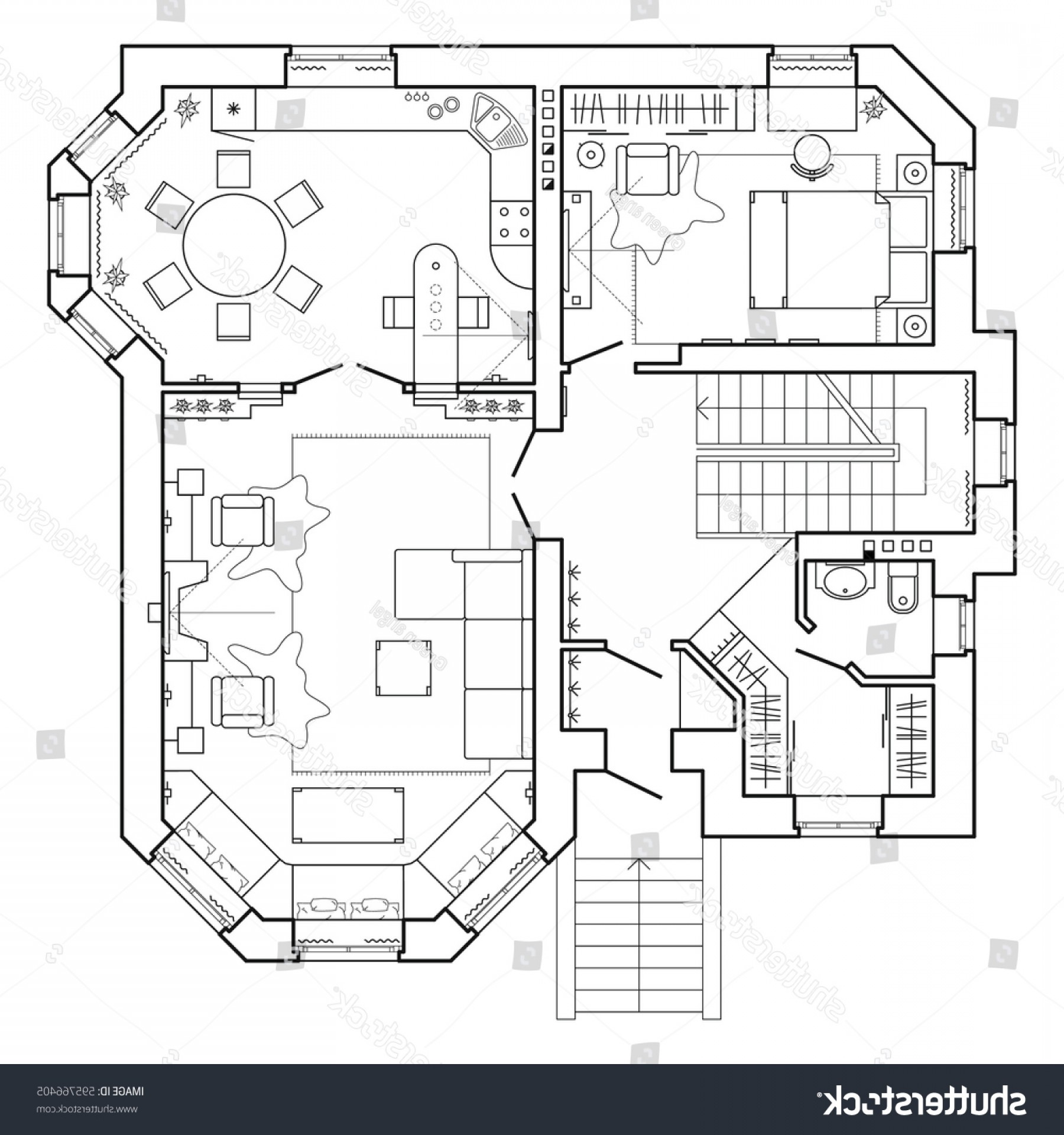 Residential Blueprint Vector Black: Black White Floor Plan Modern Apartment