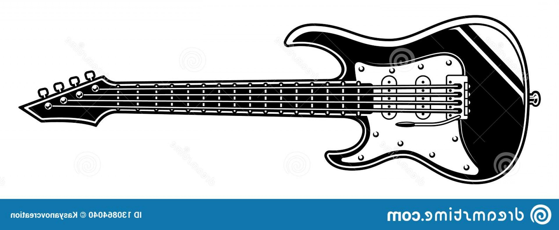 Vector Guitar Clip Art Black And White: Black White Illustration Electric Guitar Background Image