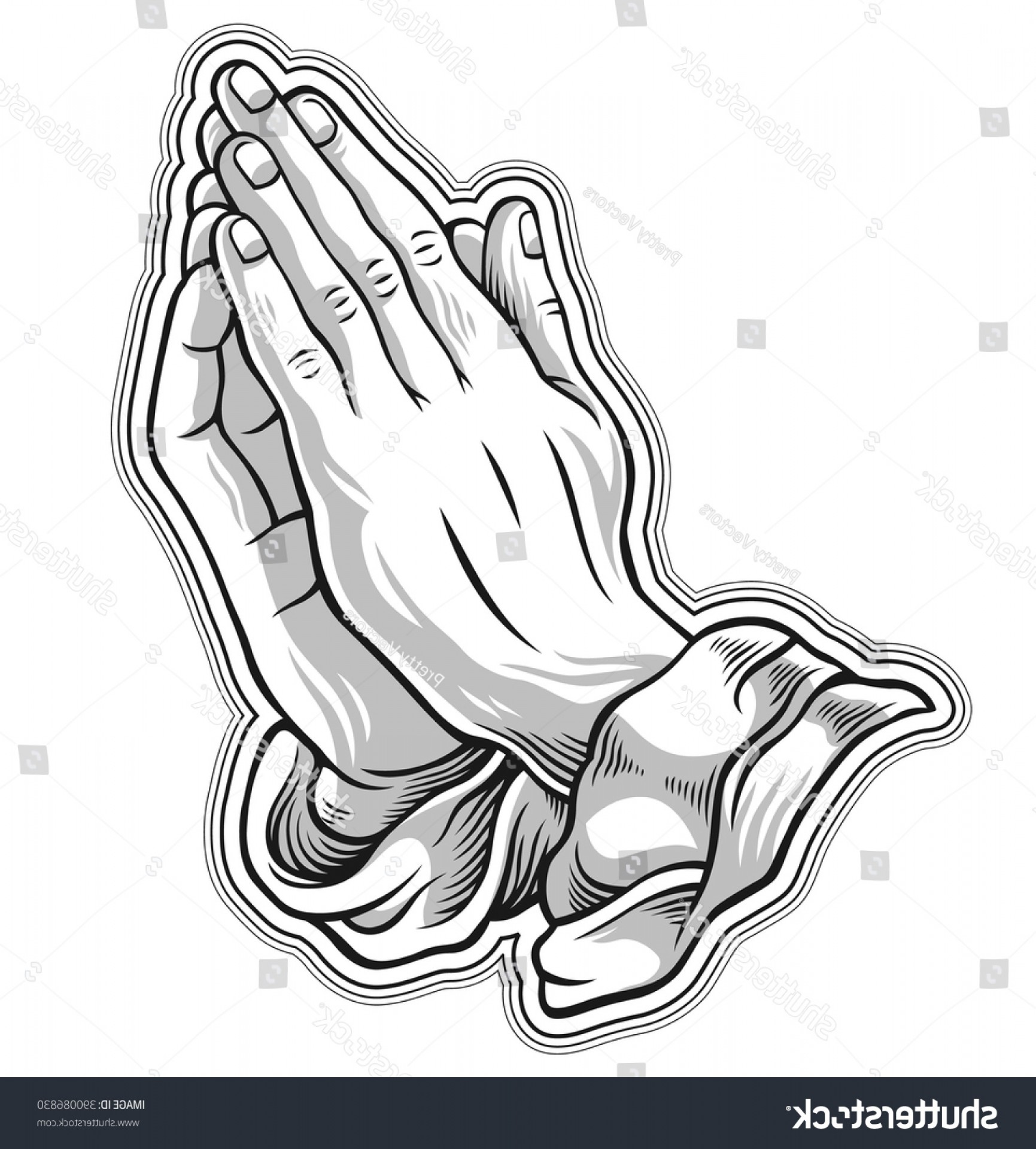 Praying Hands Vectors Shutterstock: Black White Prayer Hand Vector Illustration