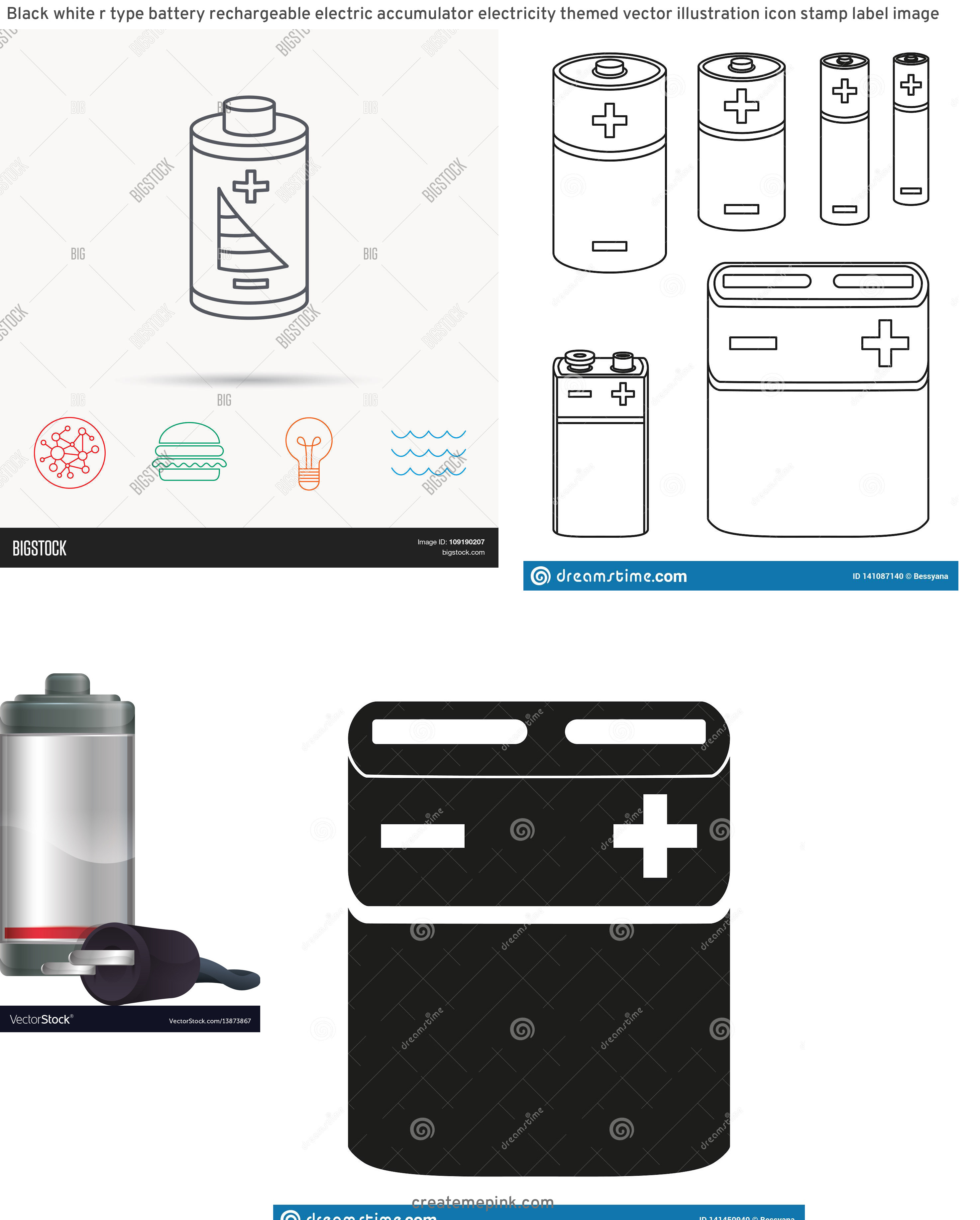 Vector Rechargeable Lamp Battery: Black White R Type Battery Rechargeable Electric Accumulator Electricity Themed Vector Illustration Icon Stamp Label Image