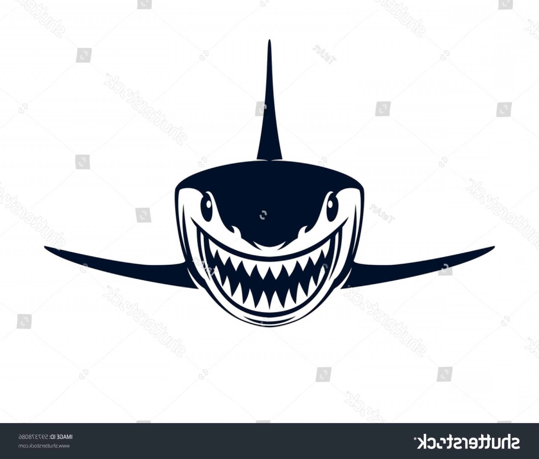 Bull Shark Jaws Vector Art: Black White Shark Open Jaws On
