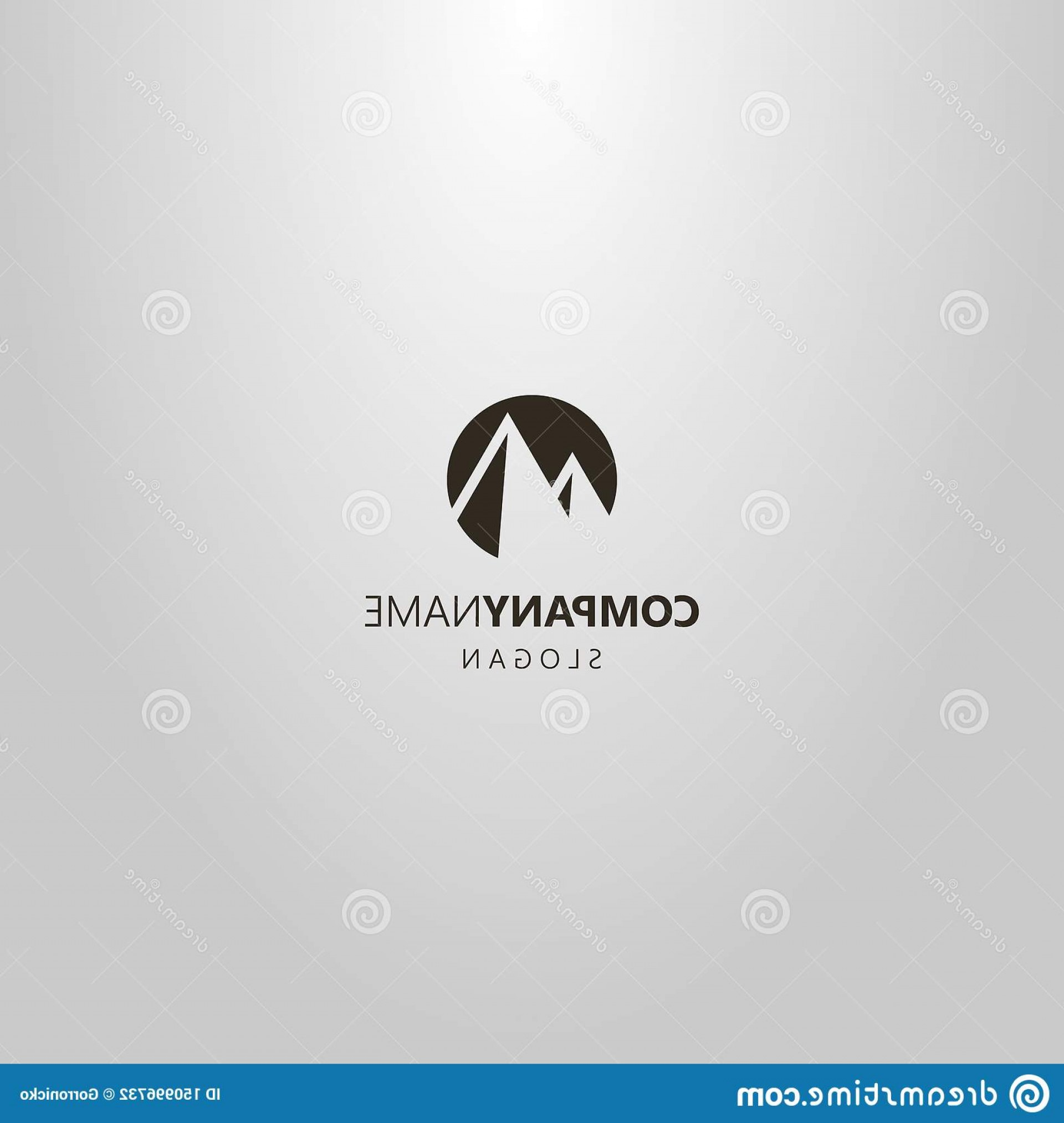 Art Space Logo Vector: Black White Simple Vector Flat Art Negative Space Round Logo Two Mountain Peaks Image
