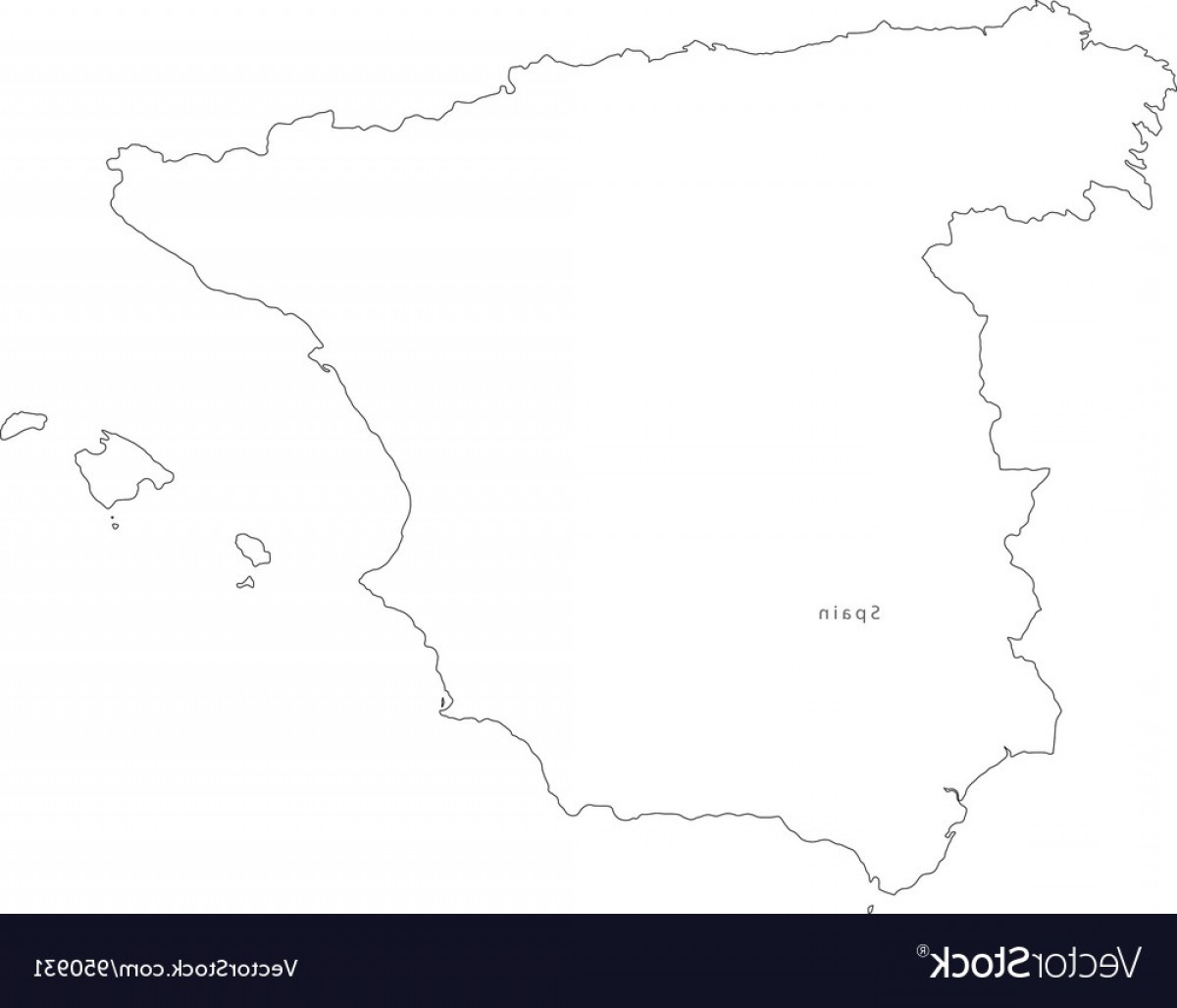 Spain Outline Vector: Black White Spain Outline Map Vector