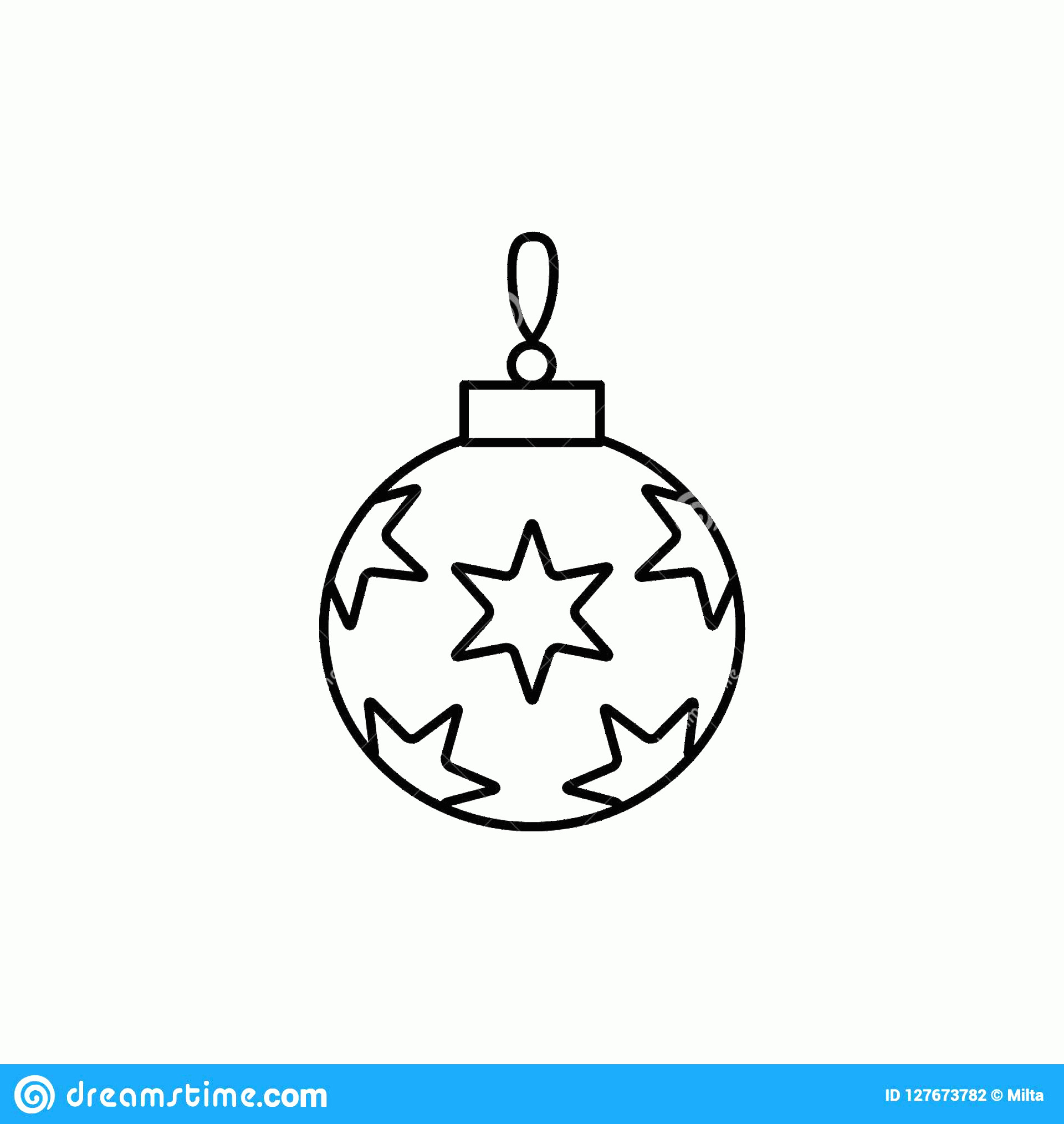 Black And White Christmas Ornament Vector Art: Black White Vector Illustration Christmas Ornament Stars Line Icon Holiday Bauble Decorative Festive Round Ball Home Image
