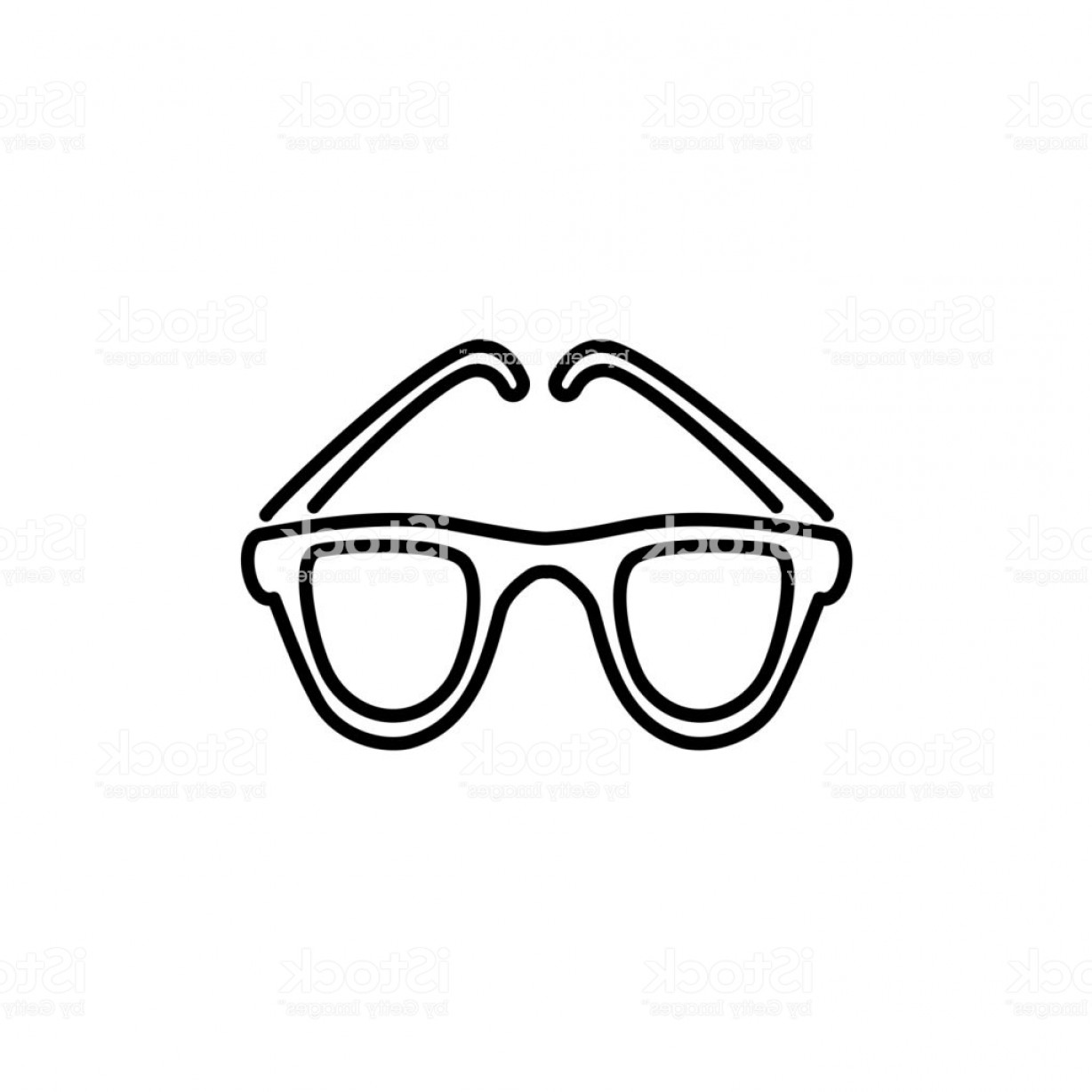 Reading Glasses For Men Vector: Black White Vector Illustration Of Round Frame Glasses Line Icon Of Modern Reading Gm